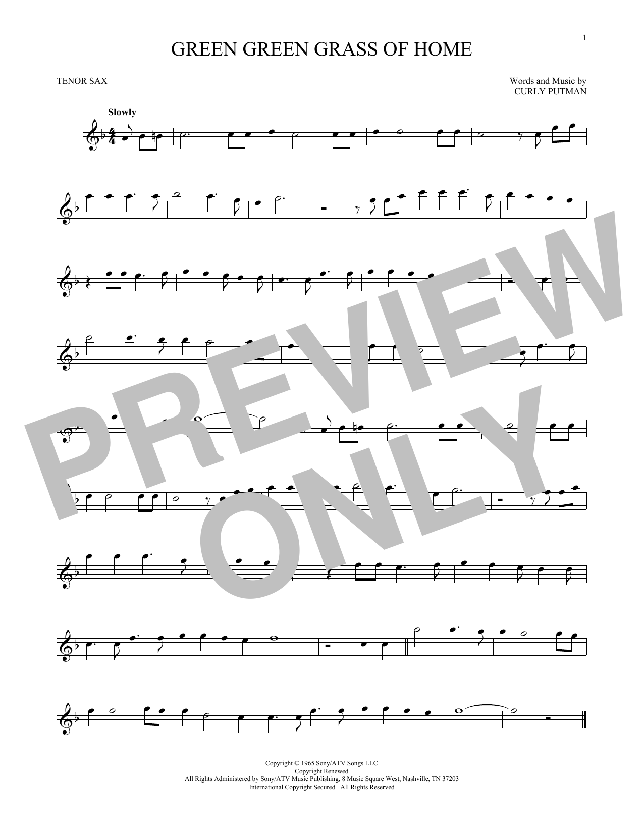 Partition saxophone Green Green Grass Of Home de Curly Putman - Sax Tenor