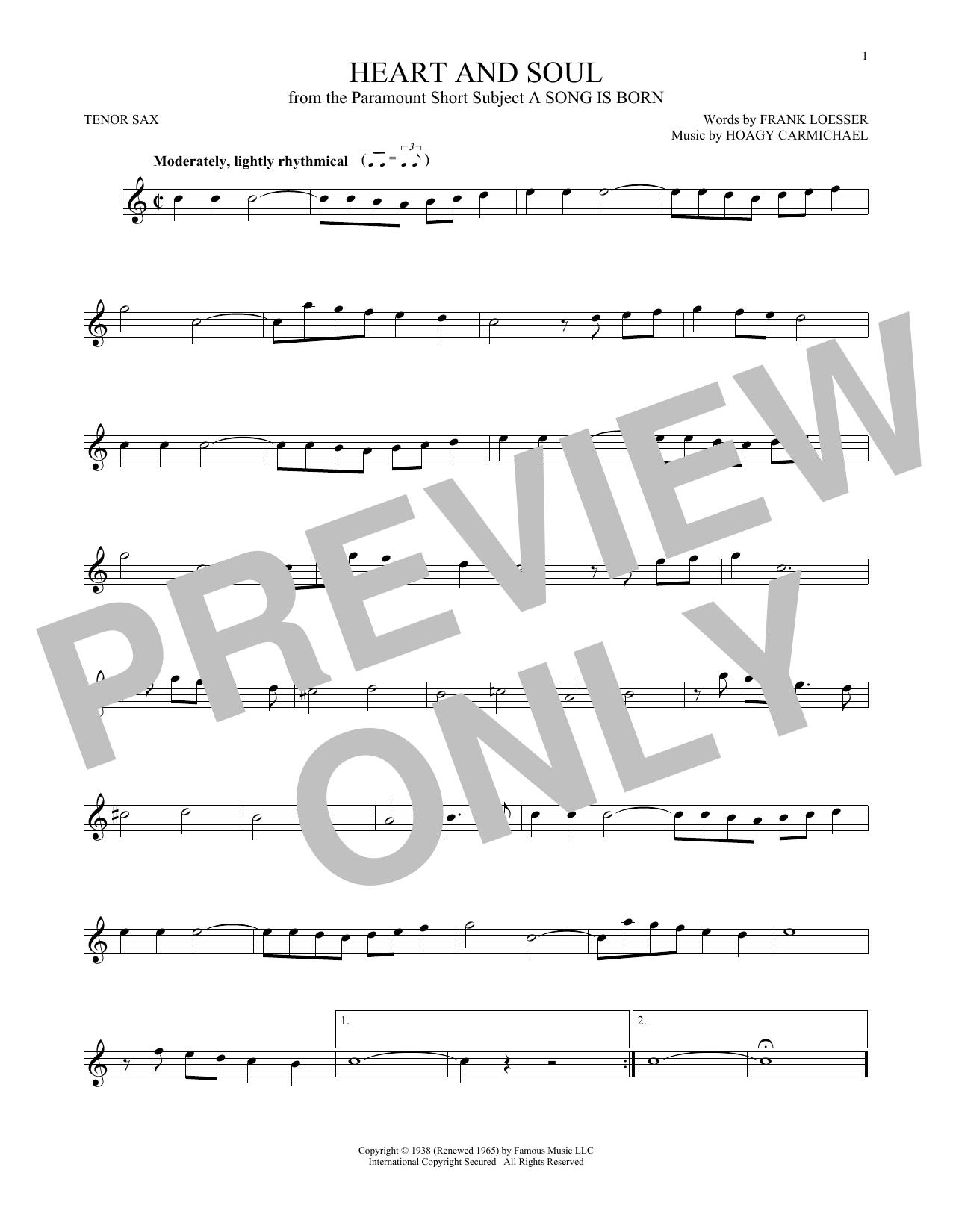 Partition saxophone Heart And Soul de Hoagy Carmichael - Sax Tenor