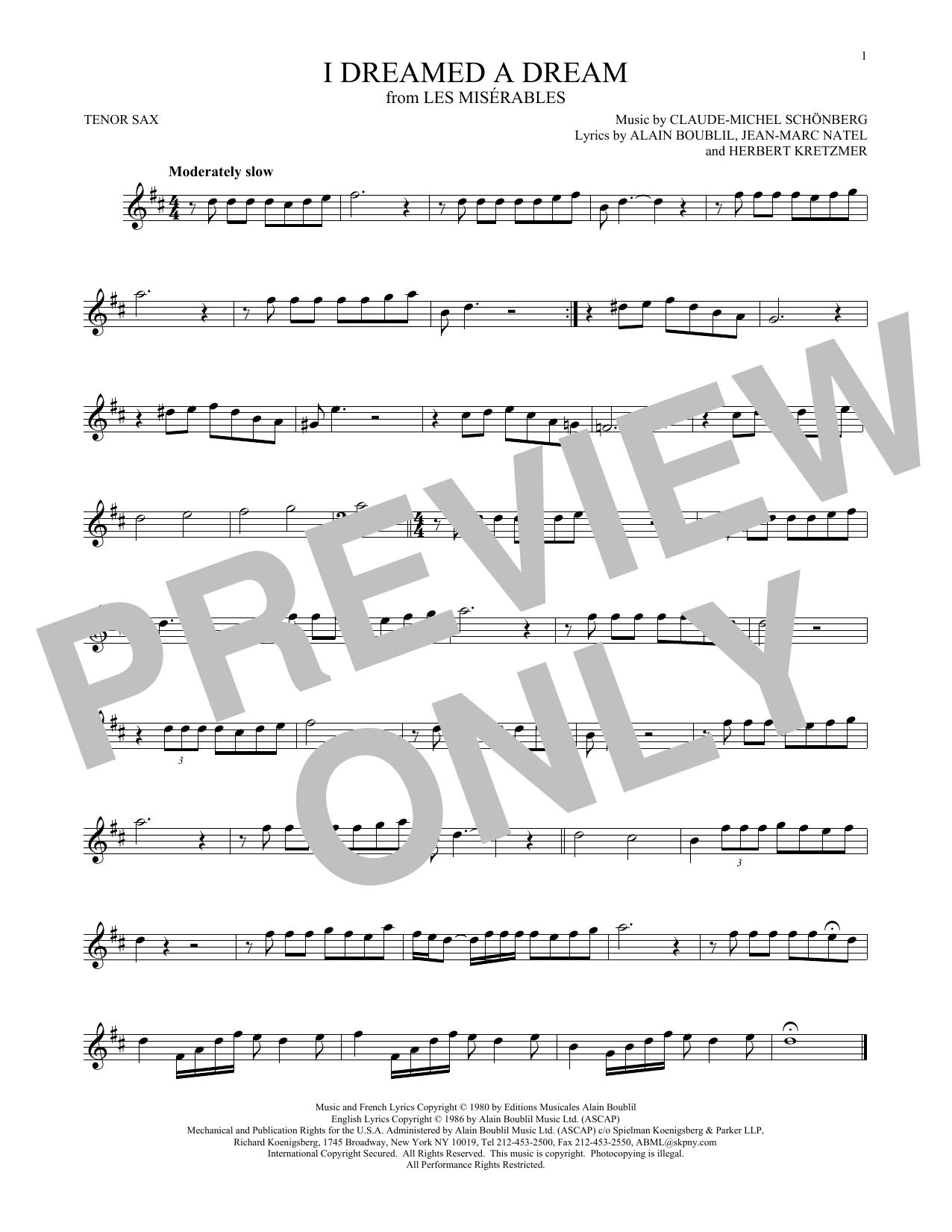 Partition saxophone I Dreamed A Dream de Claude-Michel Schonberg - Sax Tenor