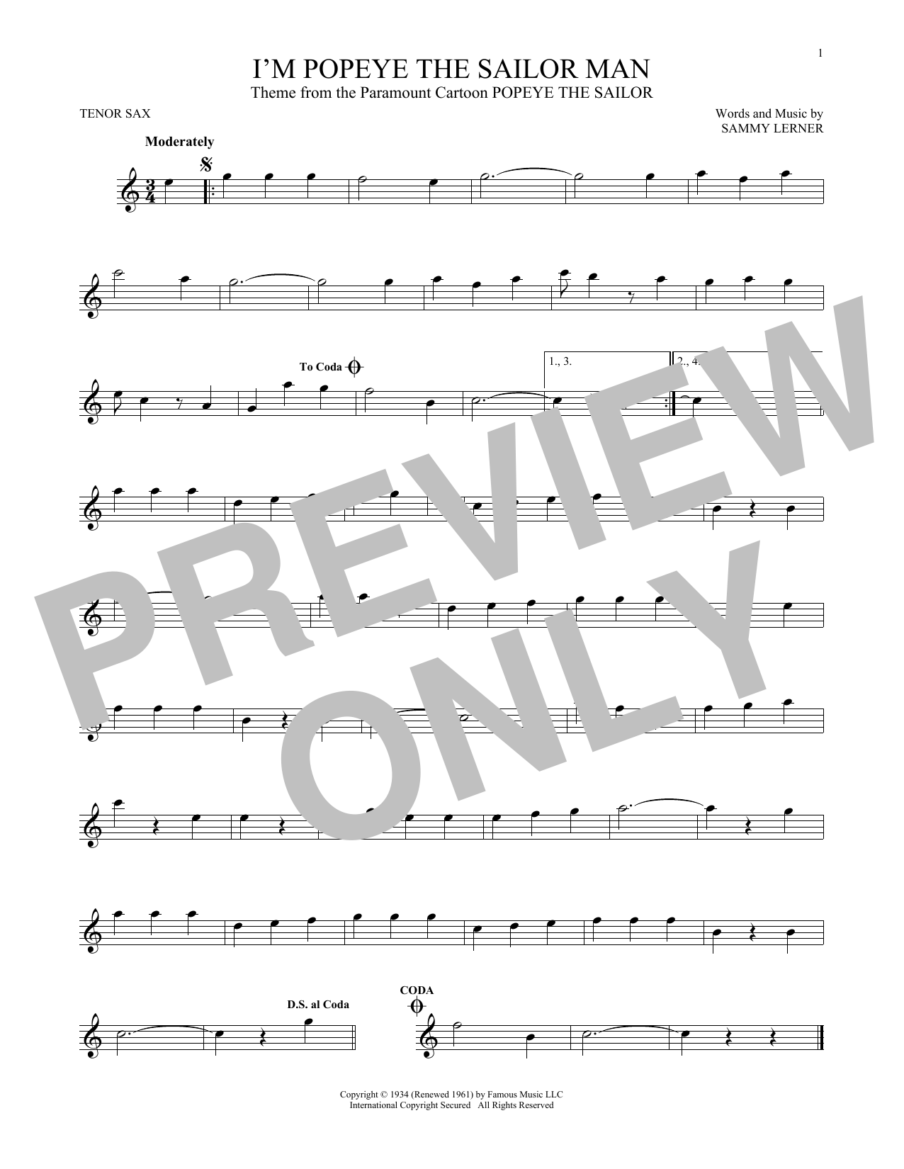 Partition saxophone I'm Popeye The Sailor Man de Sammy Lerner - Sax Tenor