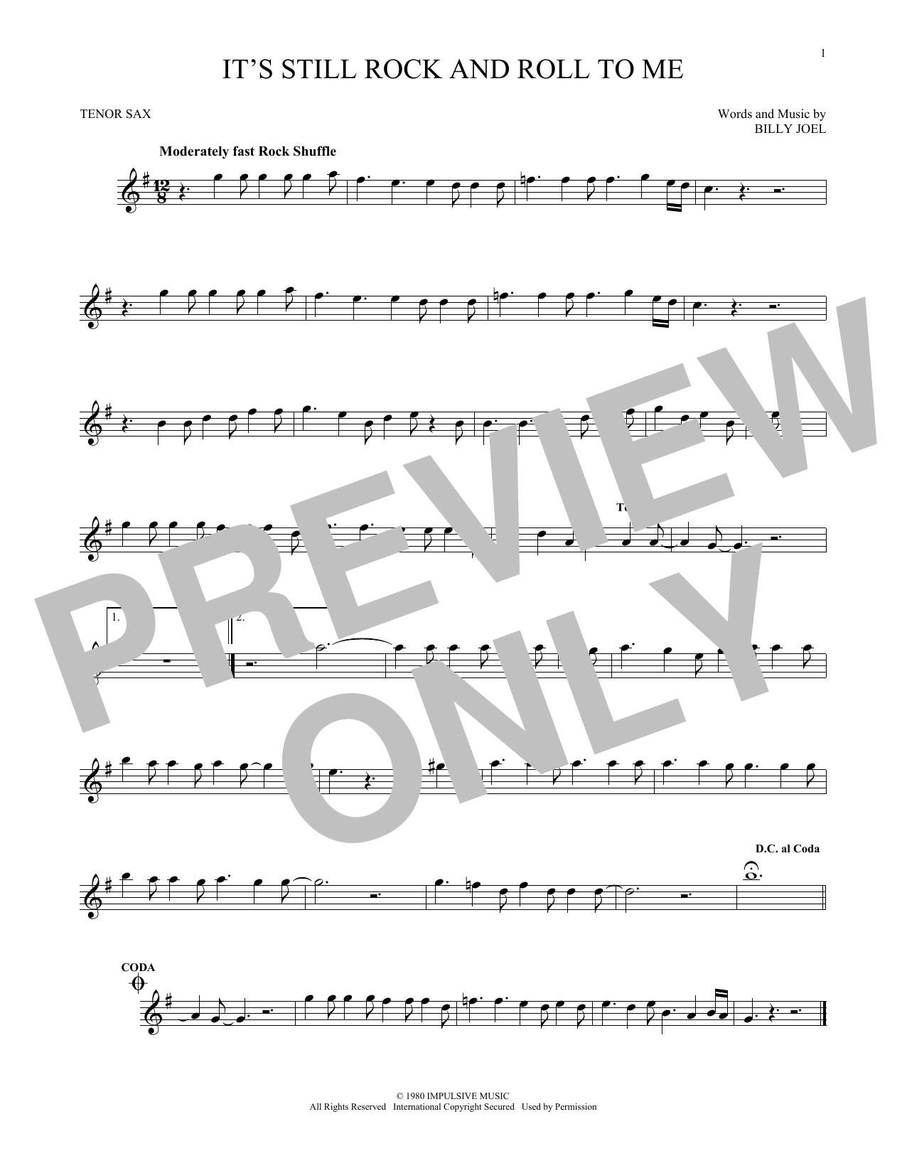 Partition saxophone It's Still Rock And Roll To Me de Billy Joel - Sax Tenor