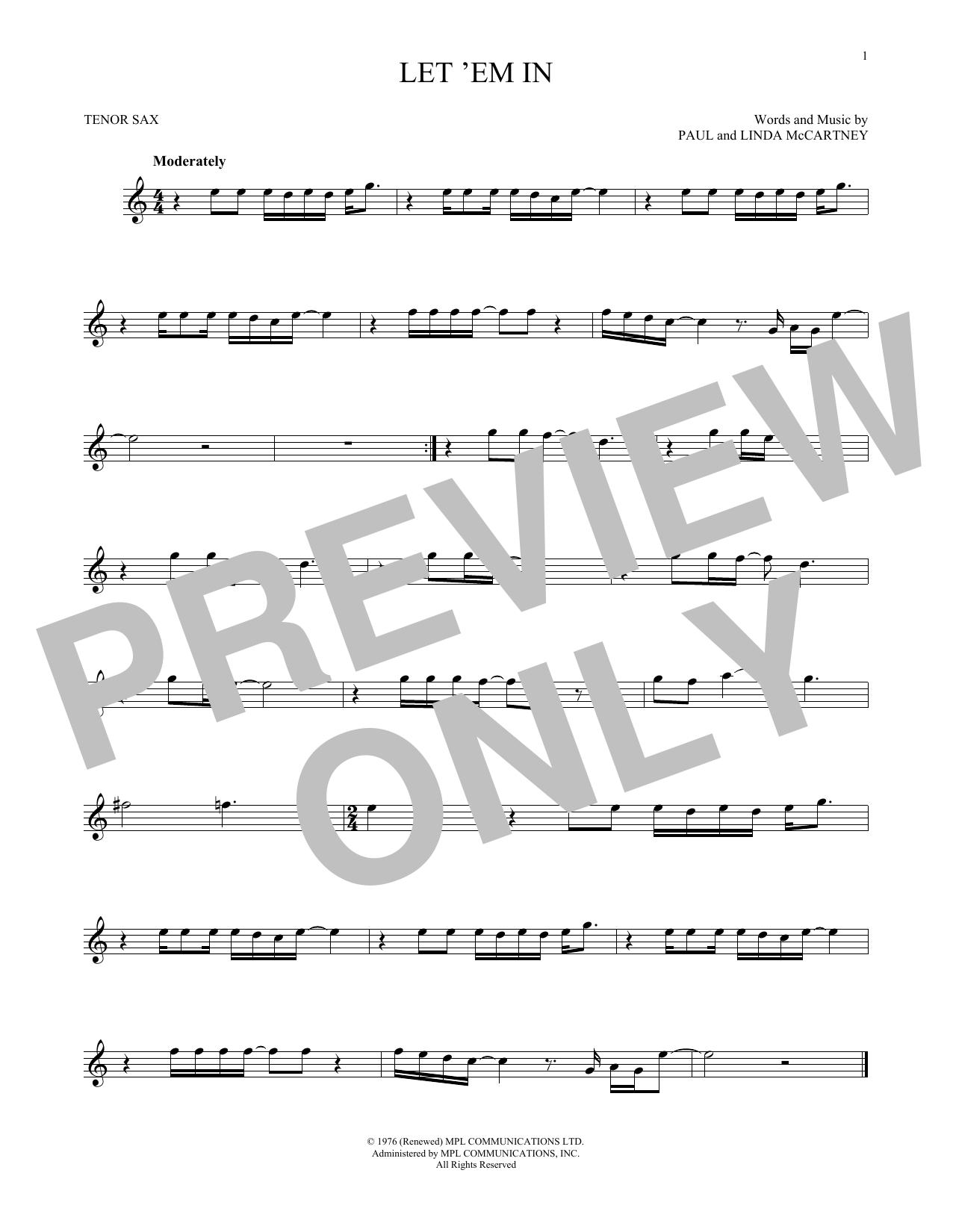 Partition saxophone Let 'Em In de Wings - Sax Tenor