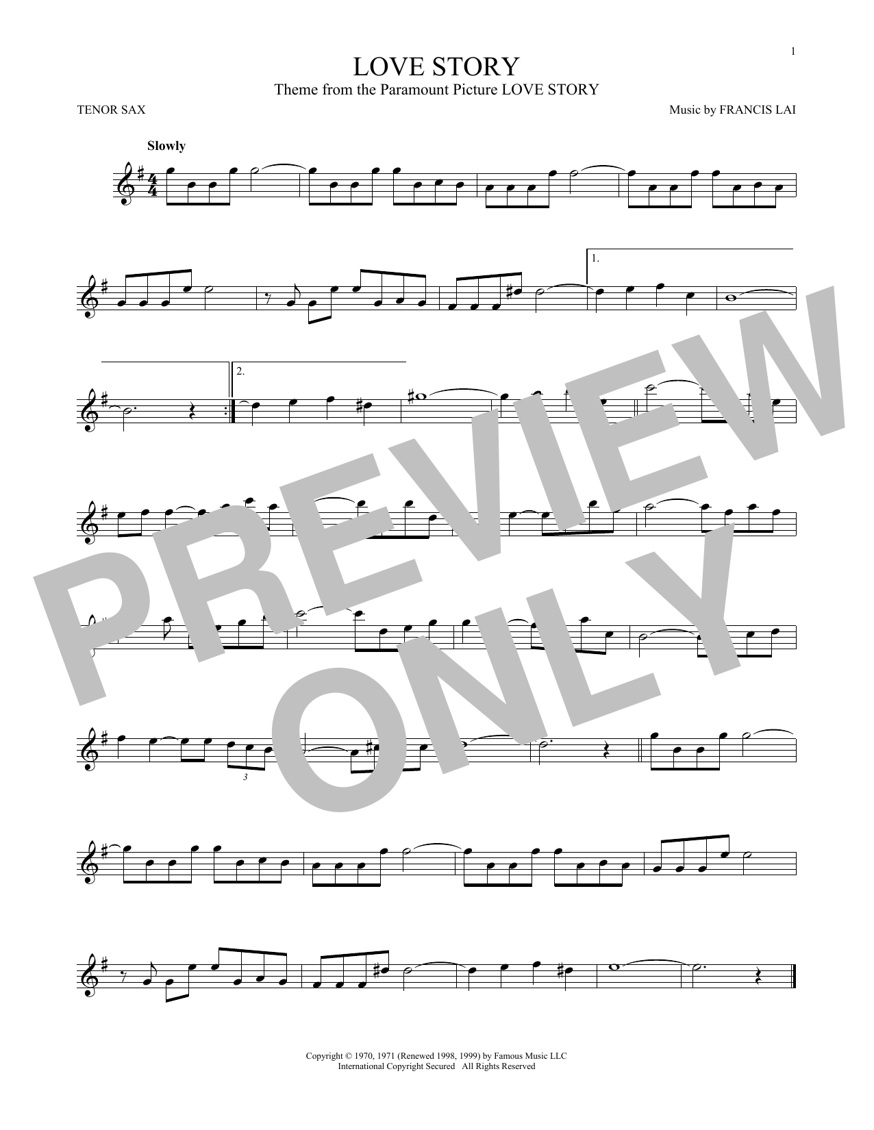 Partition saxophone Love Story de Francis Lai - Sax Tenor