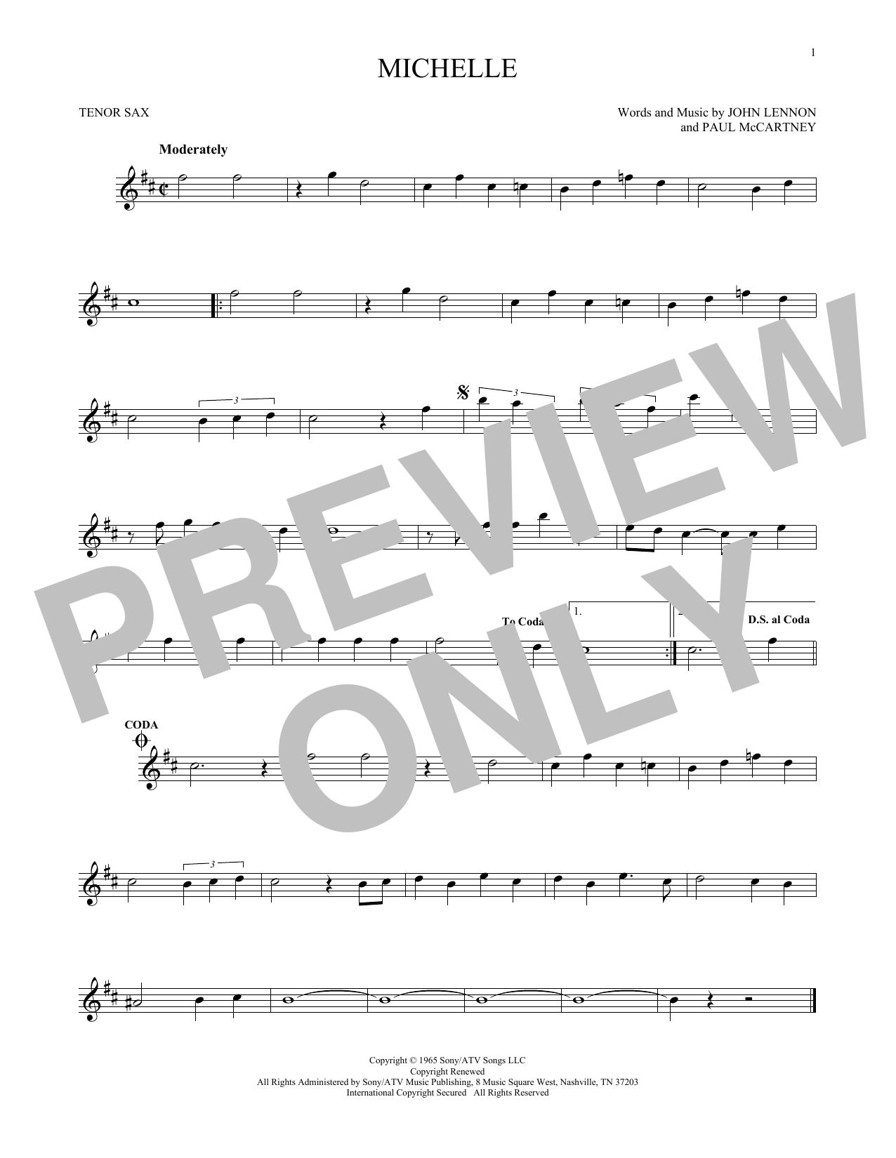 Partition saxophone Michelle de The Beatles - Sax Tenor