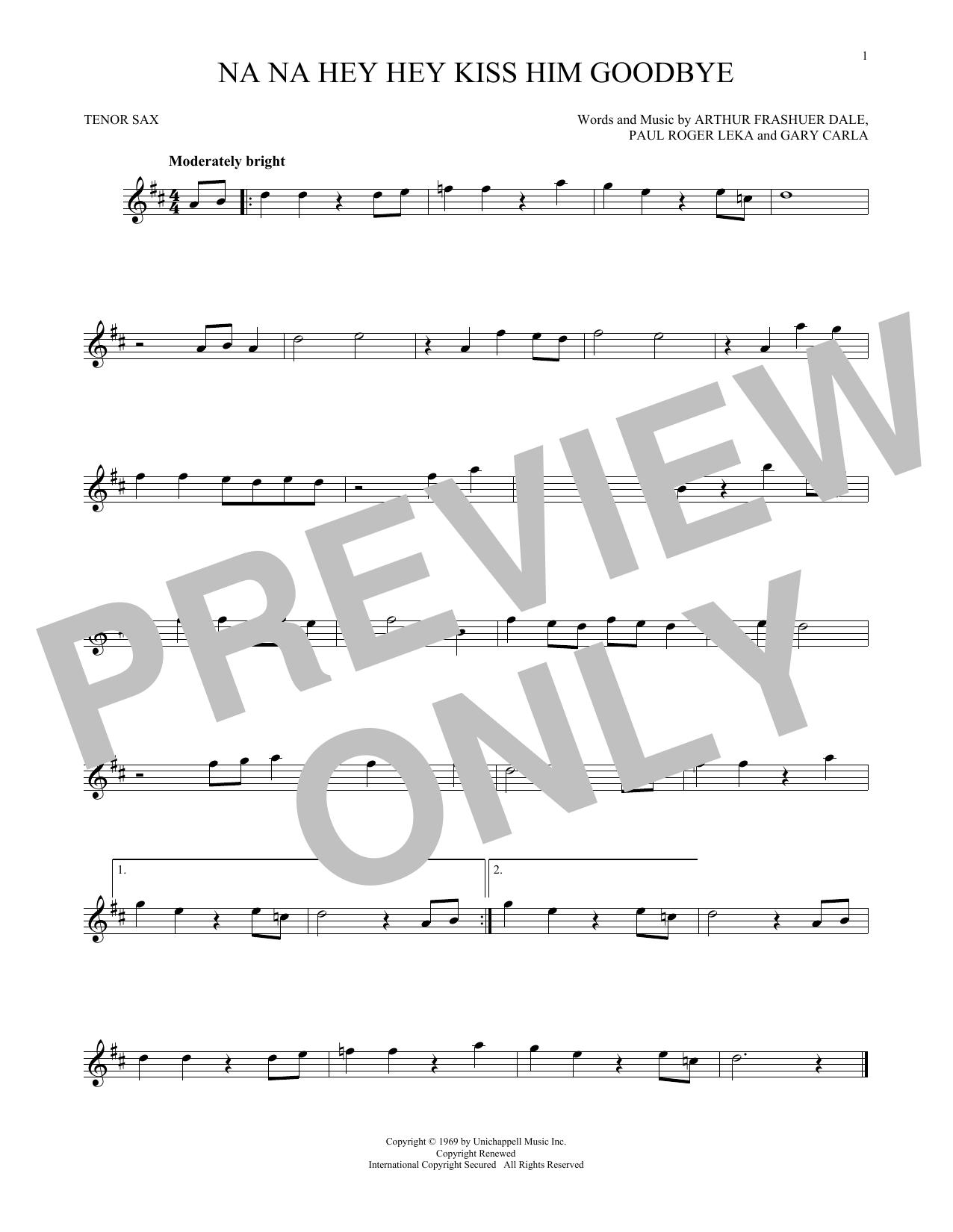 Partition saxophone Na Na Hey Hey Kiss Him Goodbye de Steam - Sax Tenor