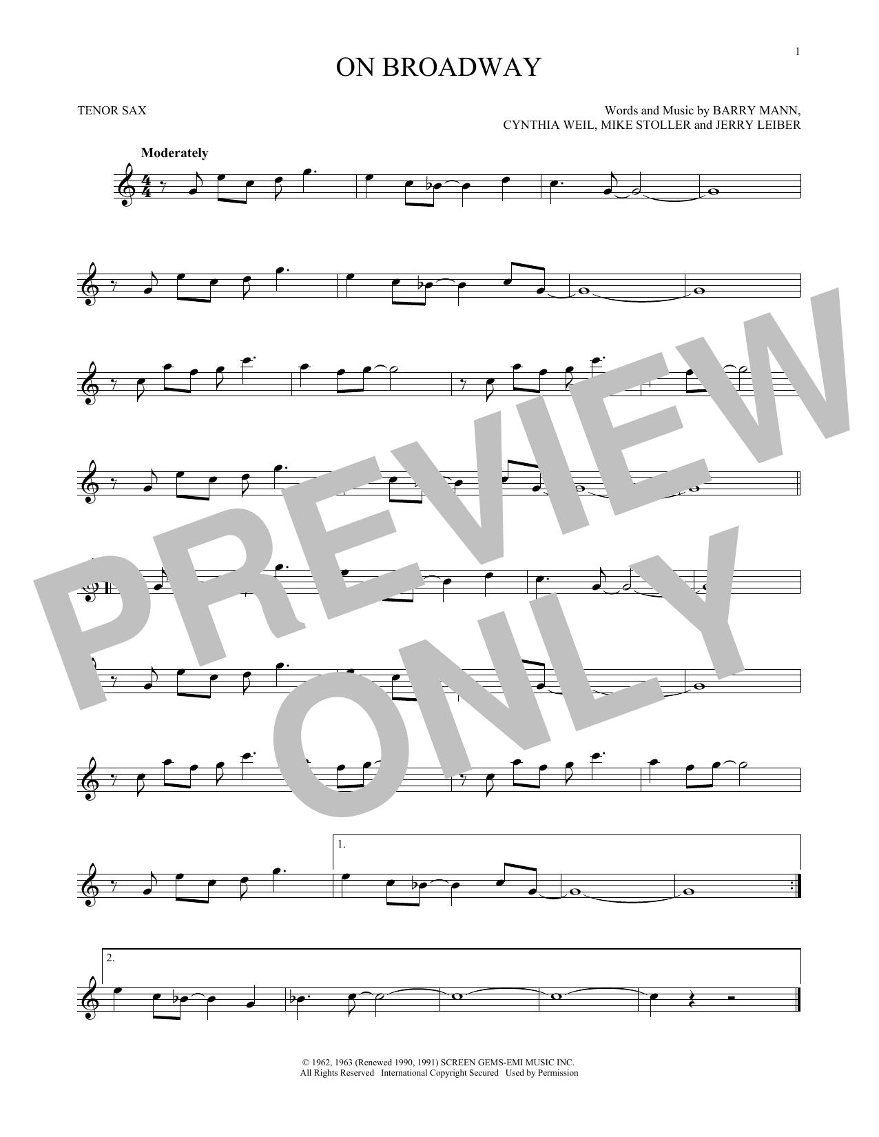 Partition saxophone On Broadway de George Benson - Sax Tenor