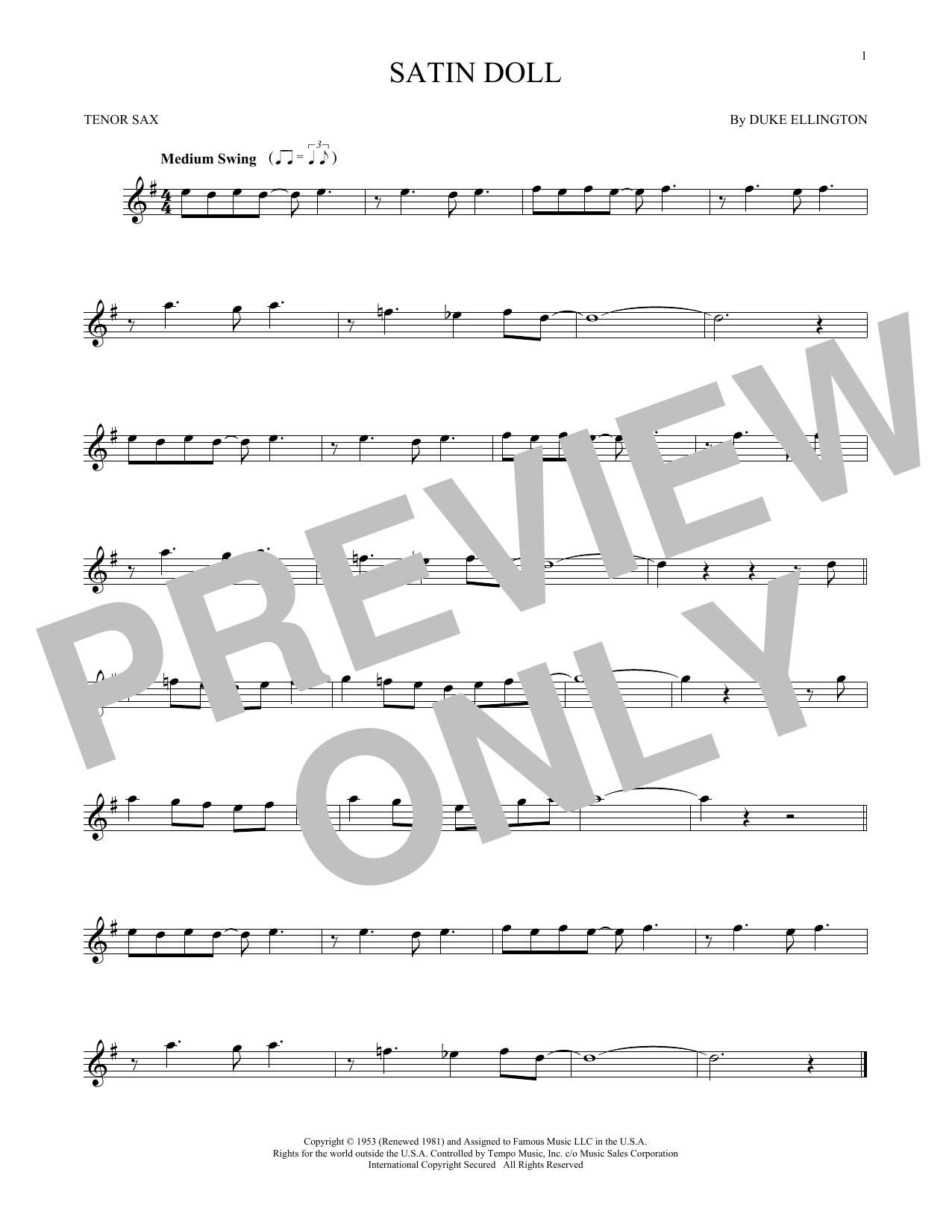 Partition saxophone Satin Doll de Duke Ellington - Sax Tenor
