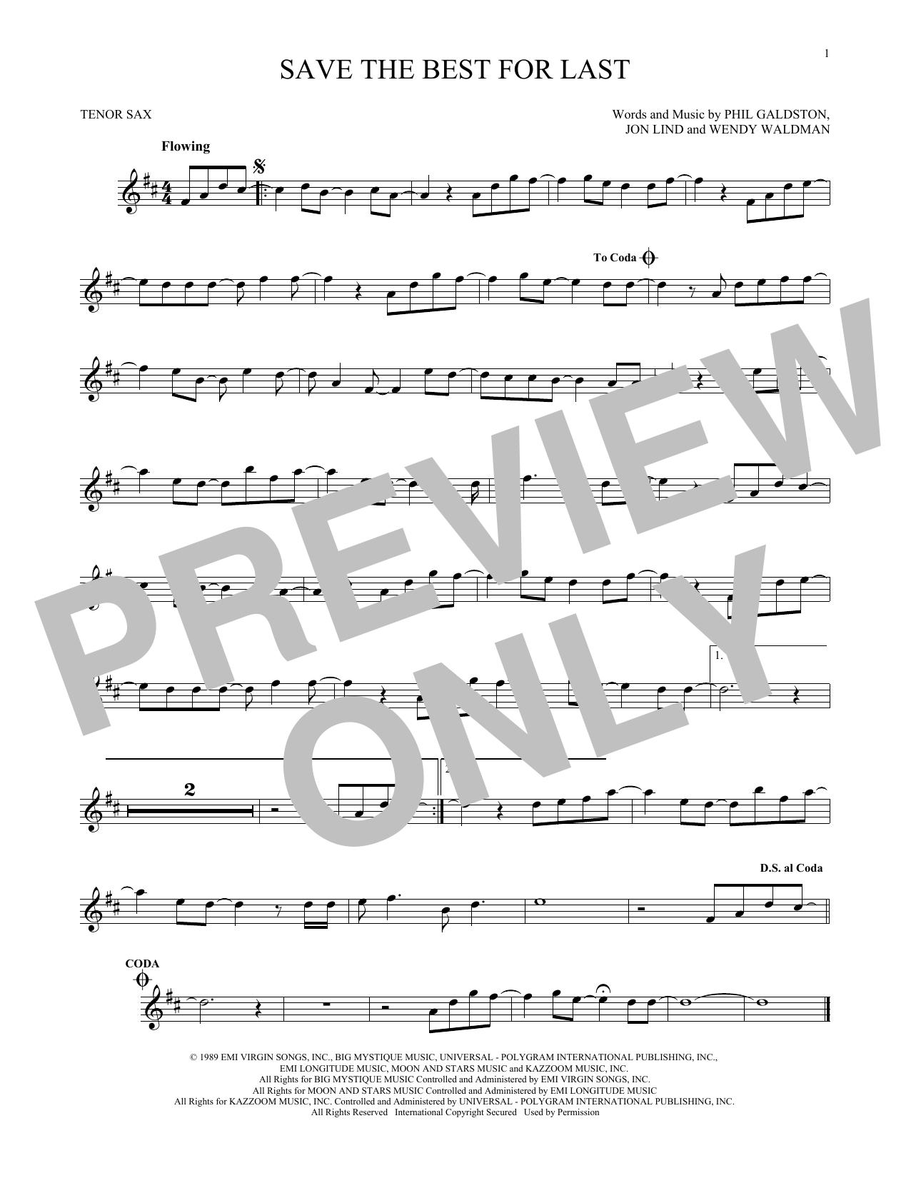 Partition saxophone Save The Best For Last de Vanessa Williams - Sax Tenor