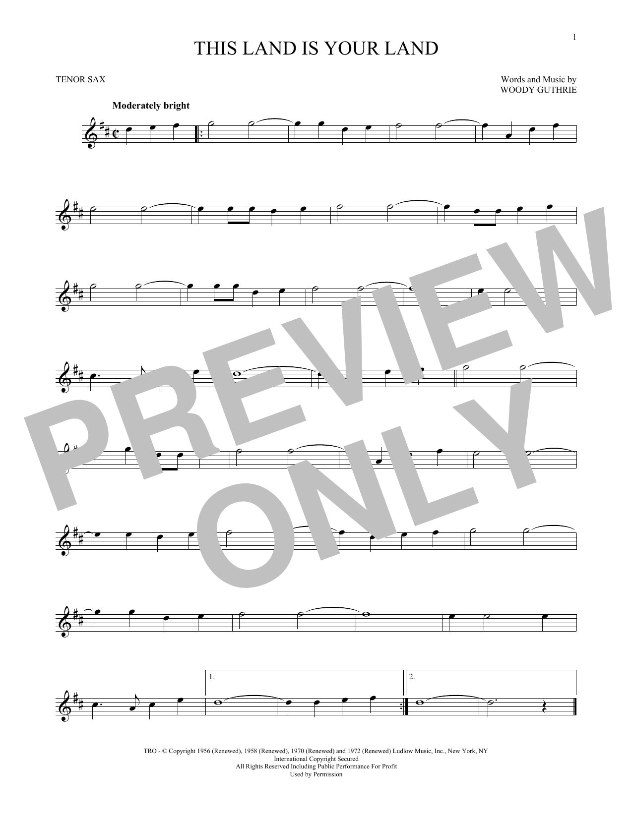 Partition saxophone This Land Is Your Land de Woody Guthrie - Sax Tenor