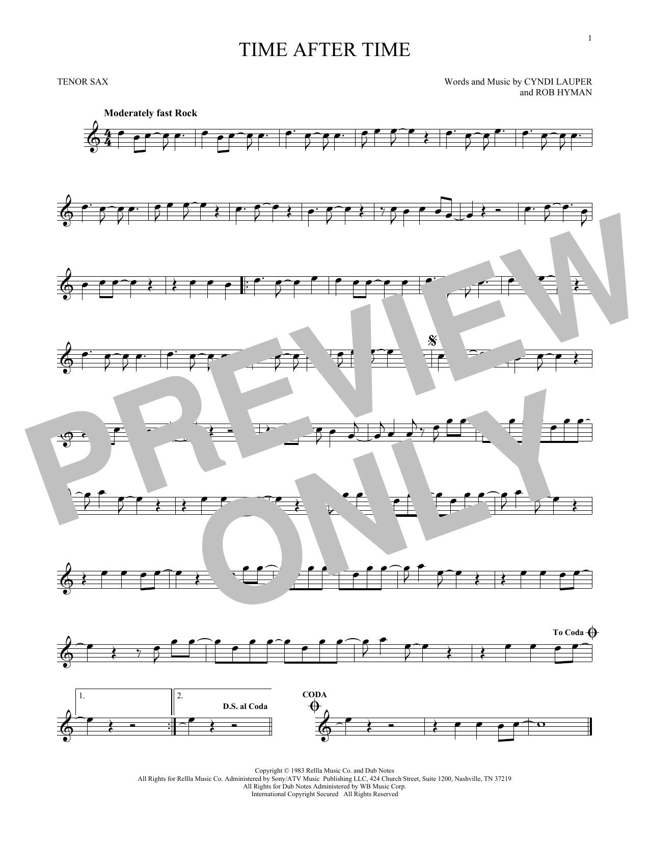 Partition saxophone Time After Time de Cyndi Lauper - Sax Tenor