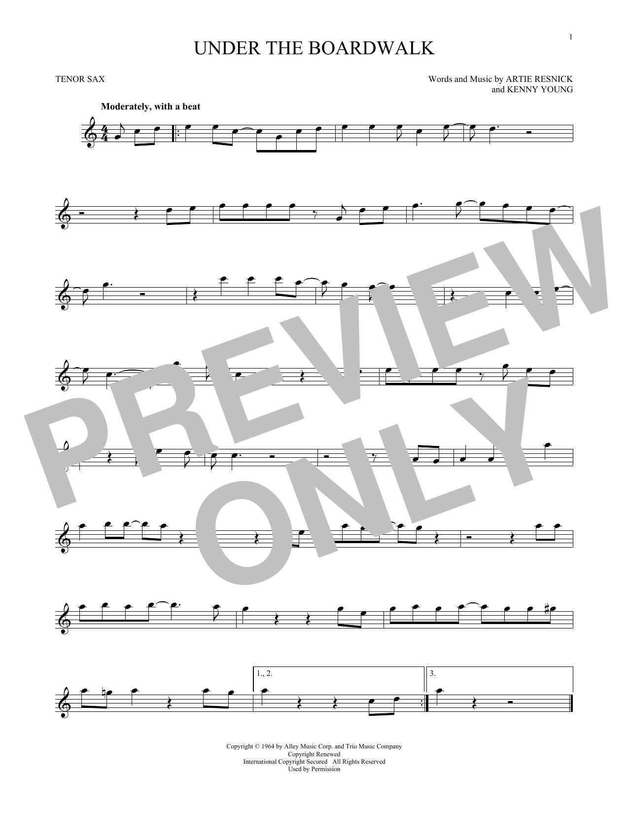 Partition saxophone Under The Boardwalk de The Drifters - Sax Tenor