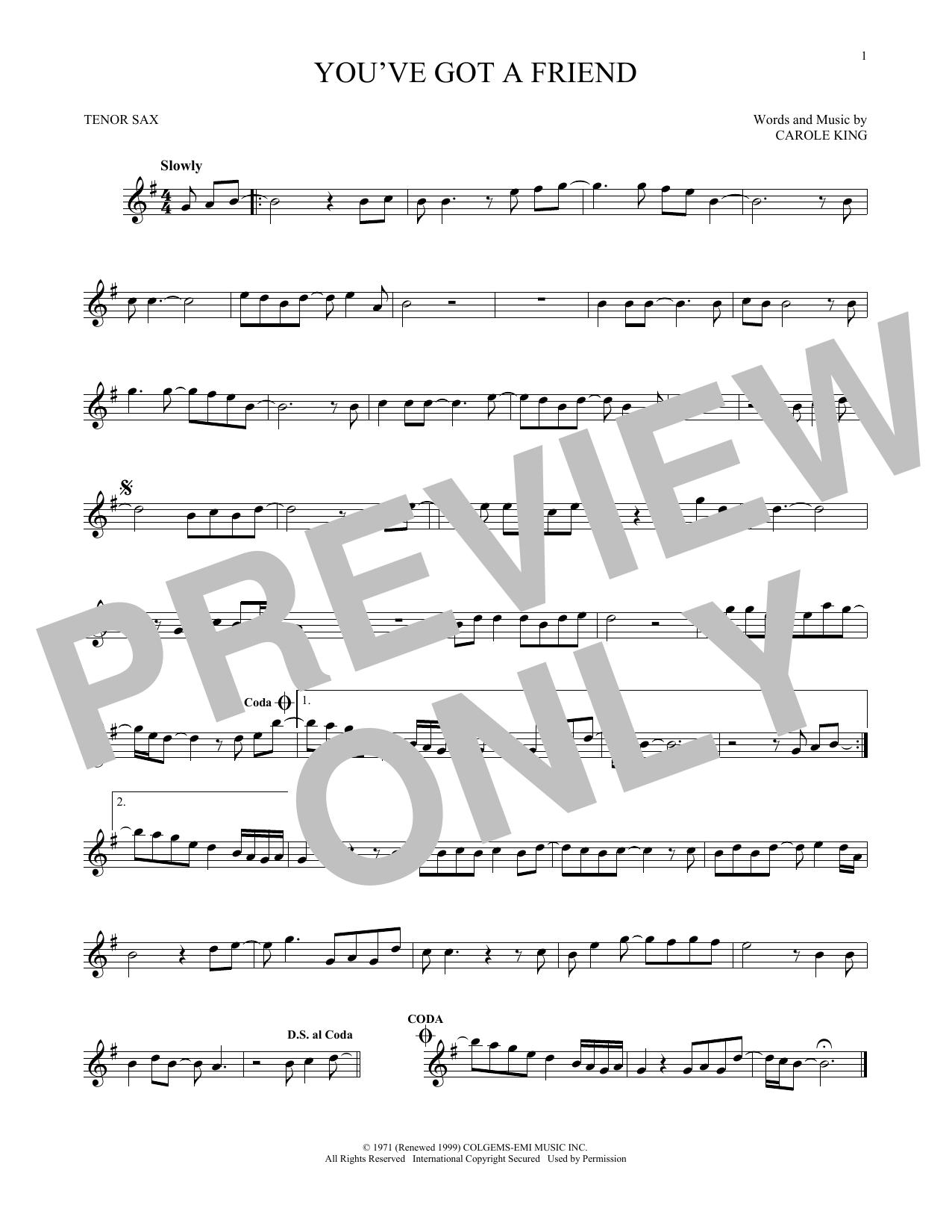 Partition saxophone You've Got A Friend de James Taylor - Sax Tenor