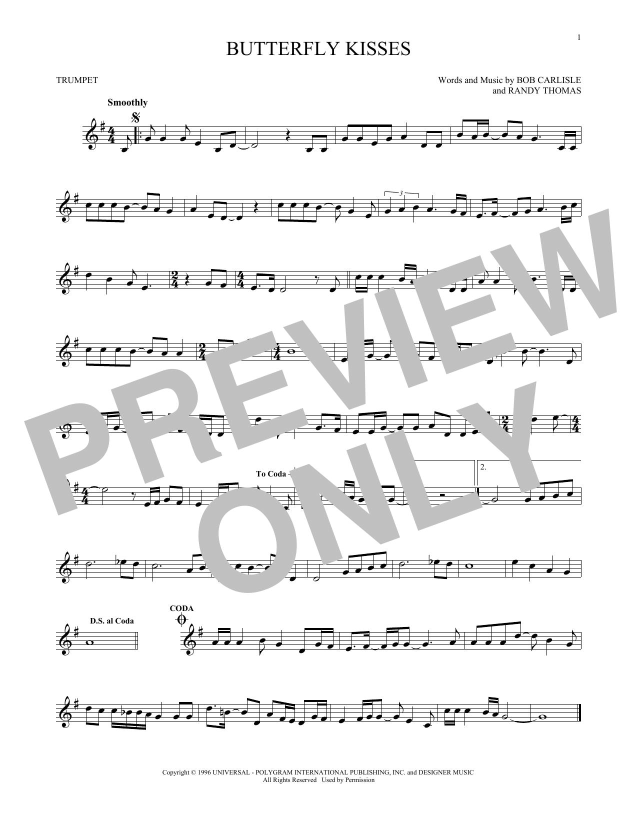 Partition autre Butterfly Kisses de Bob Carlisle - Trompette