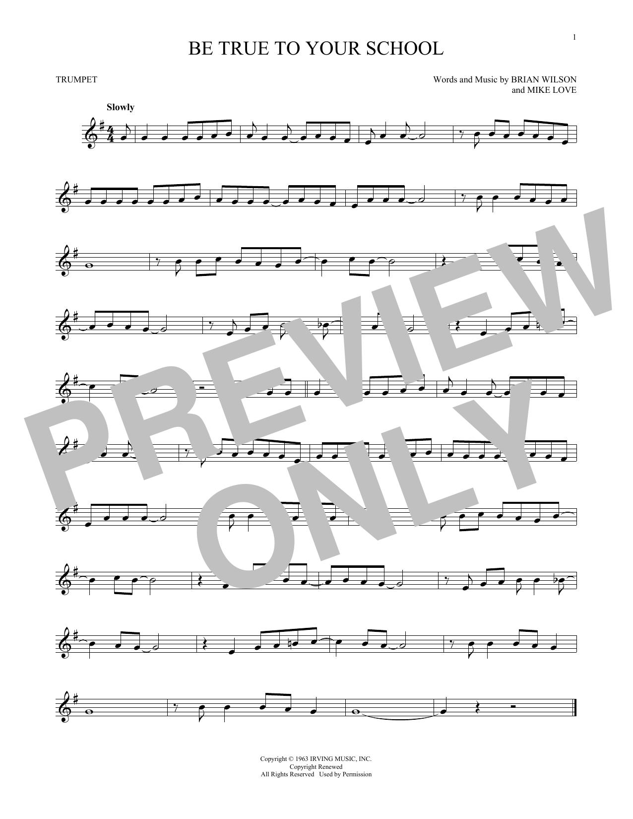 Partition autre Be True To Your School de The Beach Boys - Trompette