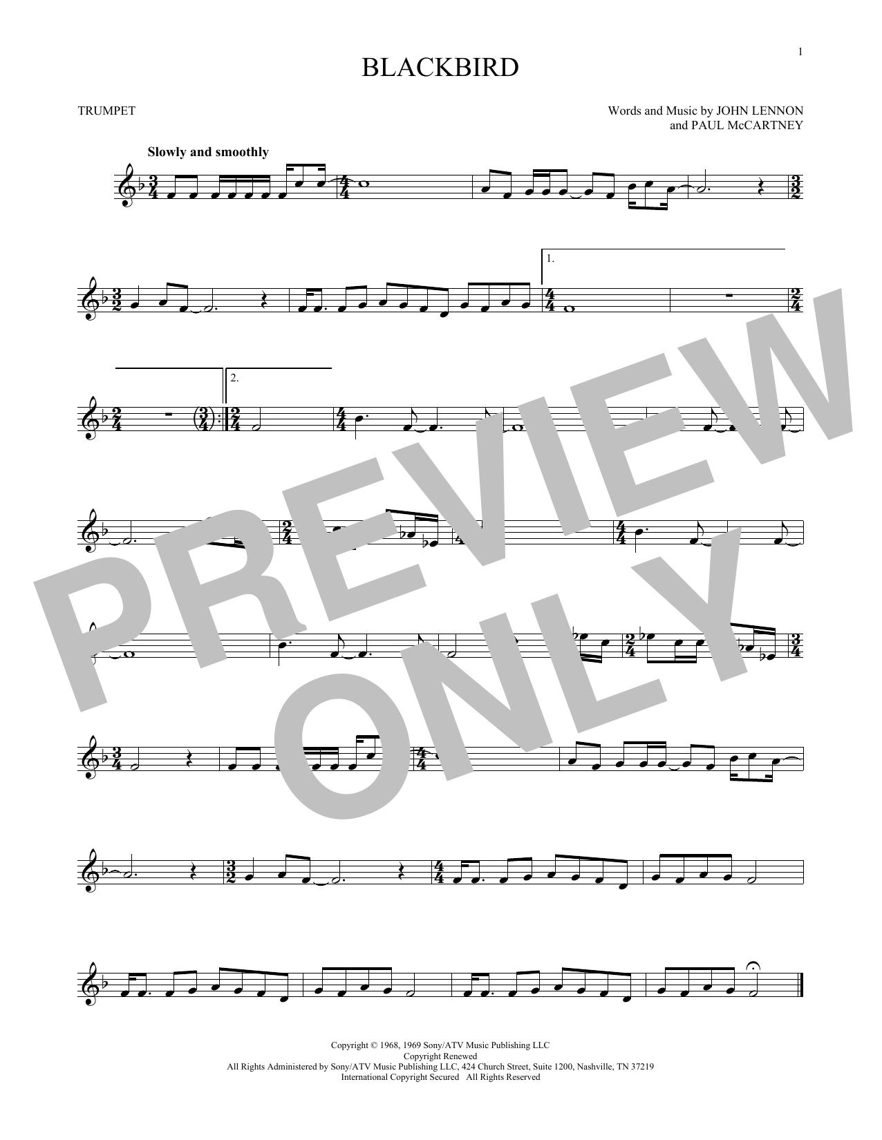 Partition autre Blackbird de The Beatles - Trompette