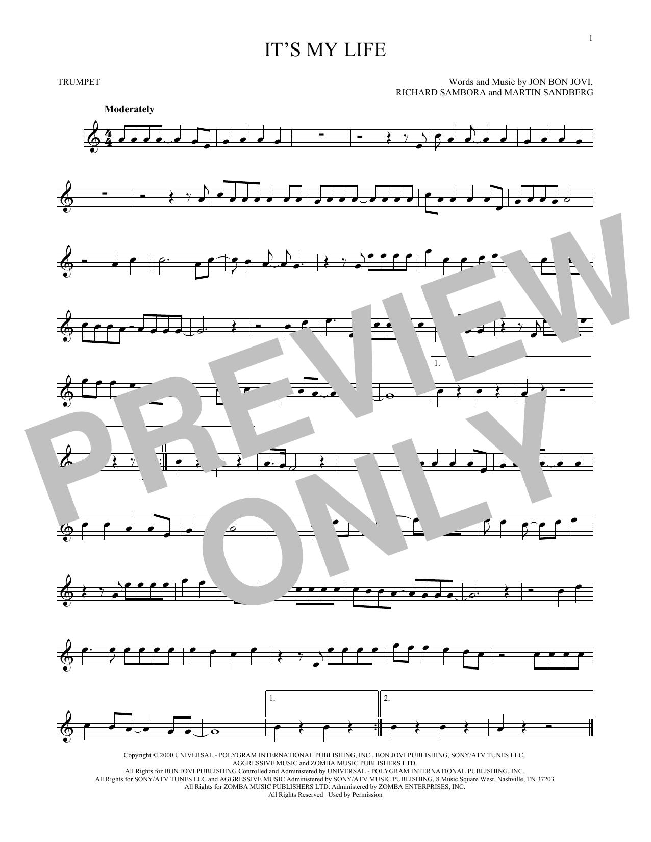Partition autre It's My Life de Bon Jovi - Trompette