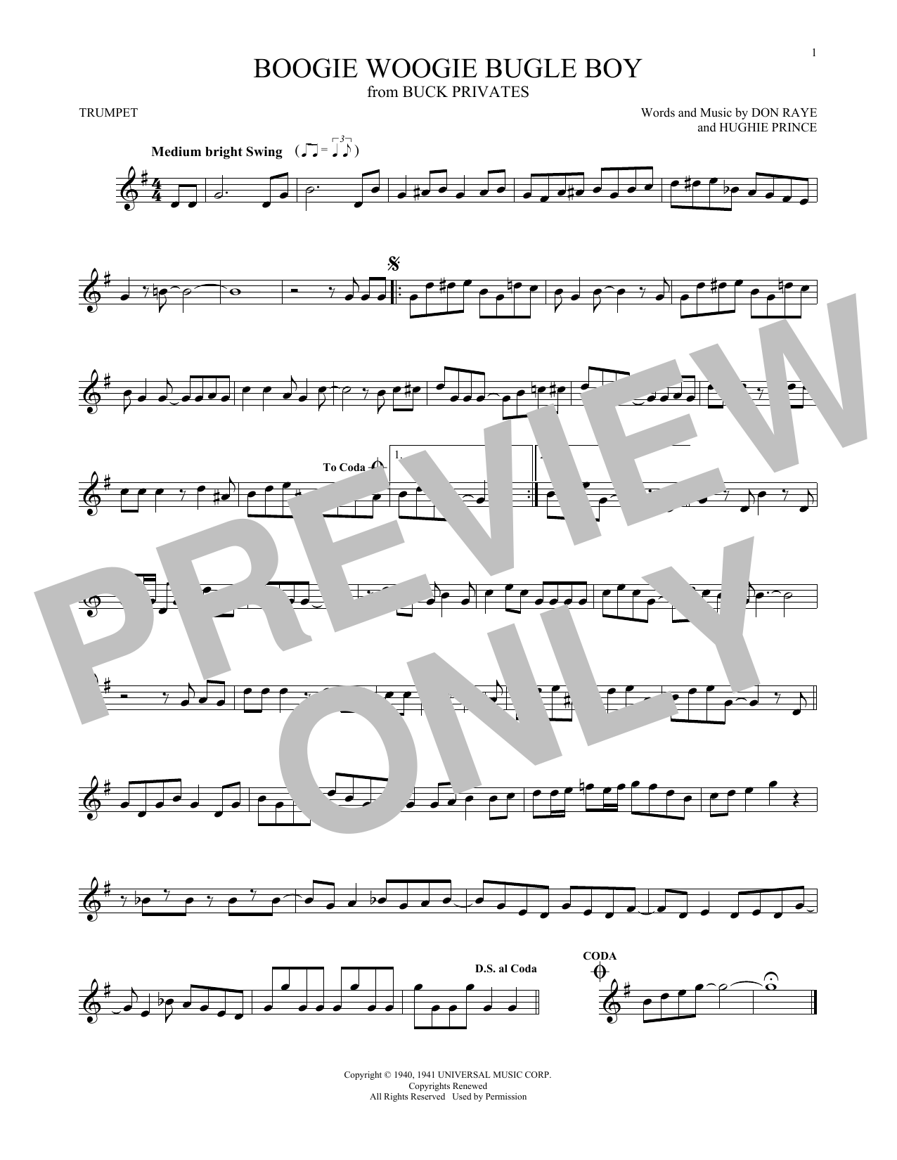 Partition autre Boogie Woogie Bugle Boy de The Andrews Sisters - Trompette