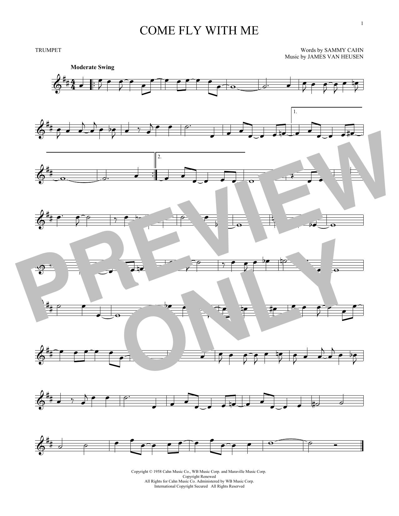 Partition autre Come Fly With Me de Frank Sinatra - Trompette