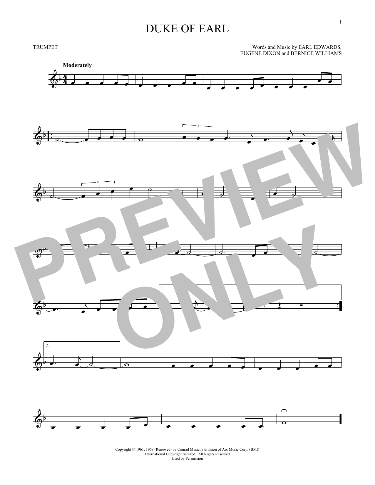 Partition autre Duke Of Earl de Gene Chandler - Trompette
