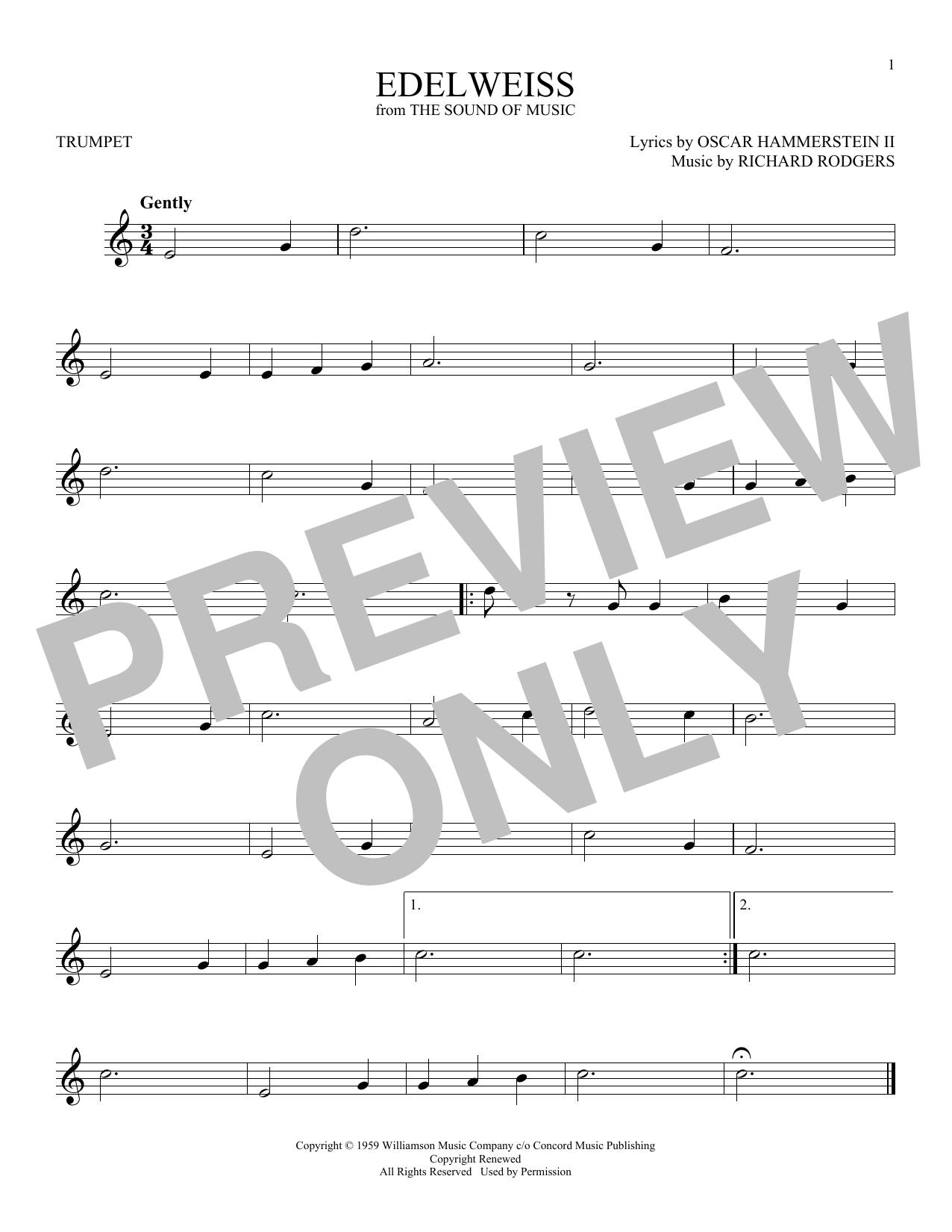 Partition autre Edelweiss de Rodgers & Hammerstein - Trompette