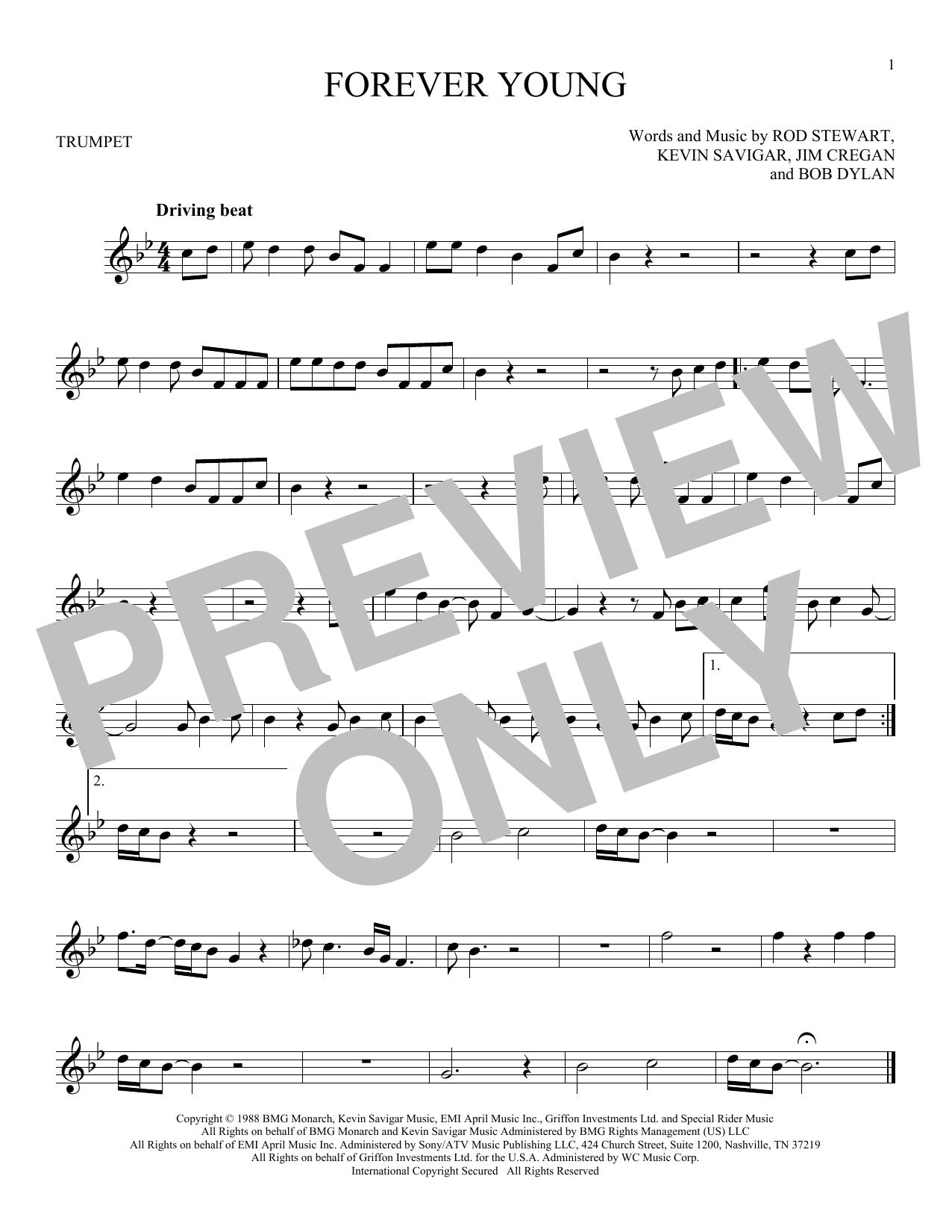 Partition autre Forever Young de Rod Stewart - Trompette