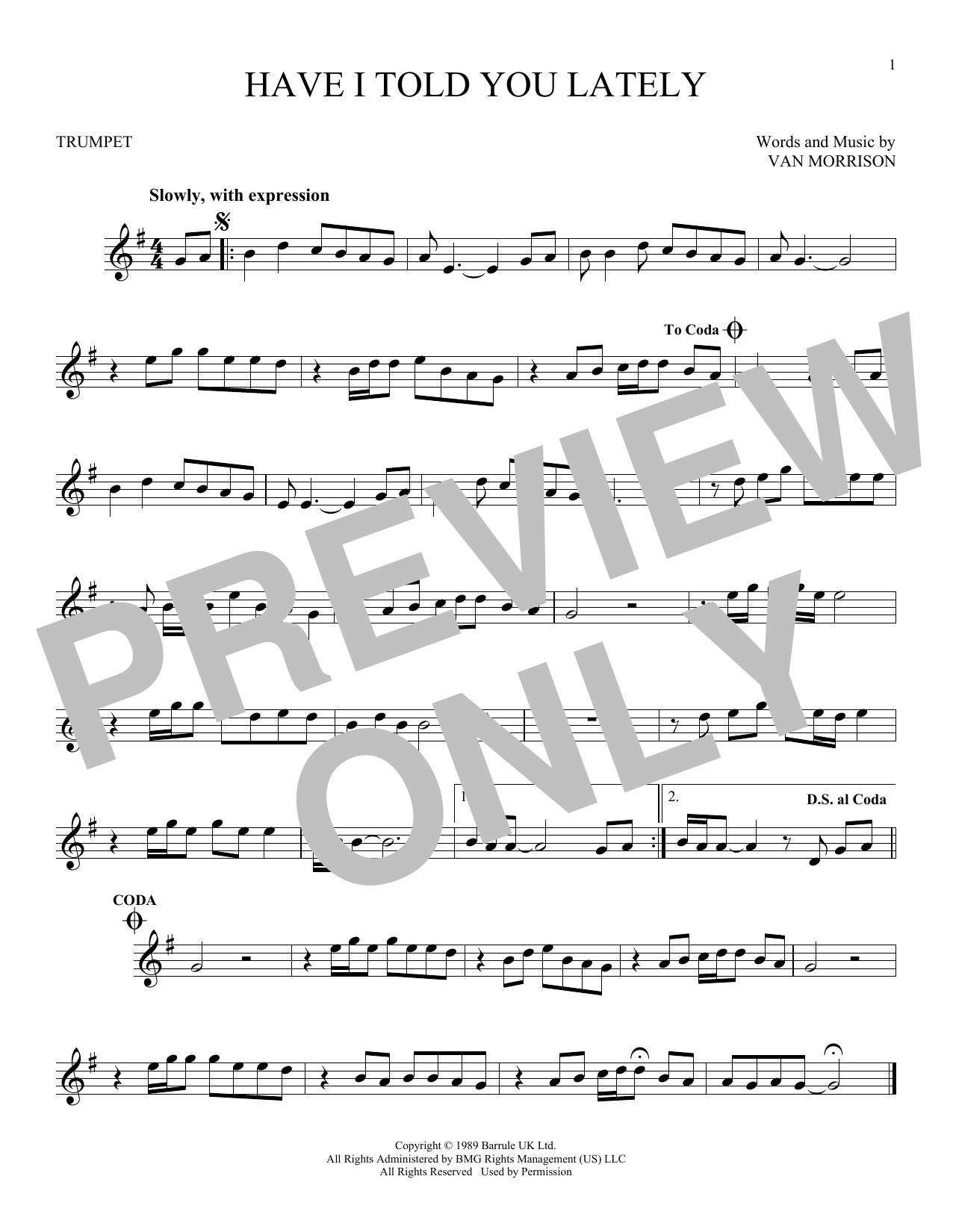 Partition autre Have I Told You Lately de Van Morrison - Trompette