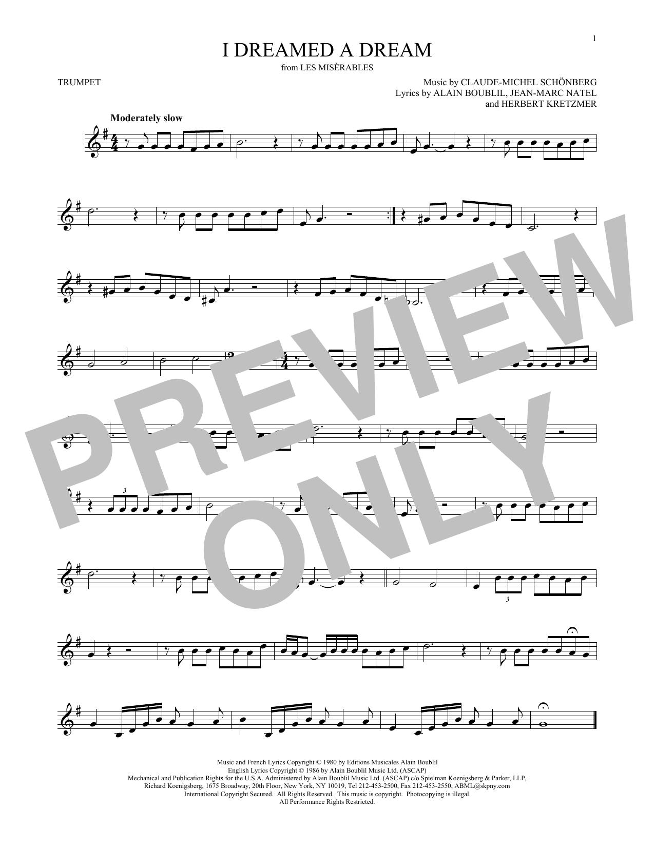 Partition autre I Dreamed A Dream de Claude-Michel Schonberg - Trompette