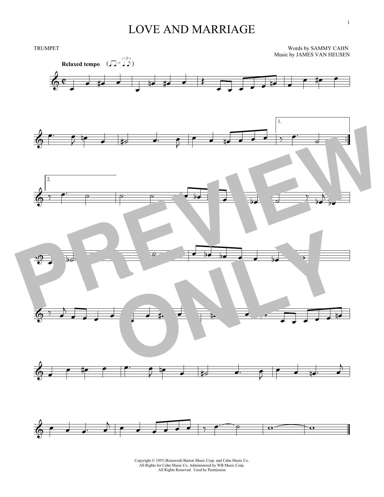Partition autre Love And Marriage de Frank Sinatra - Trompette