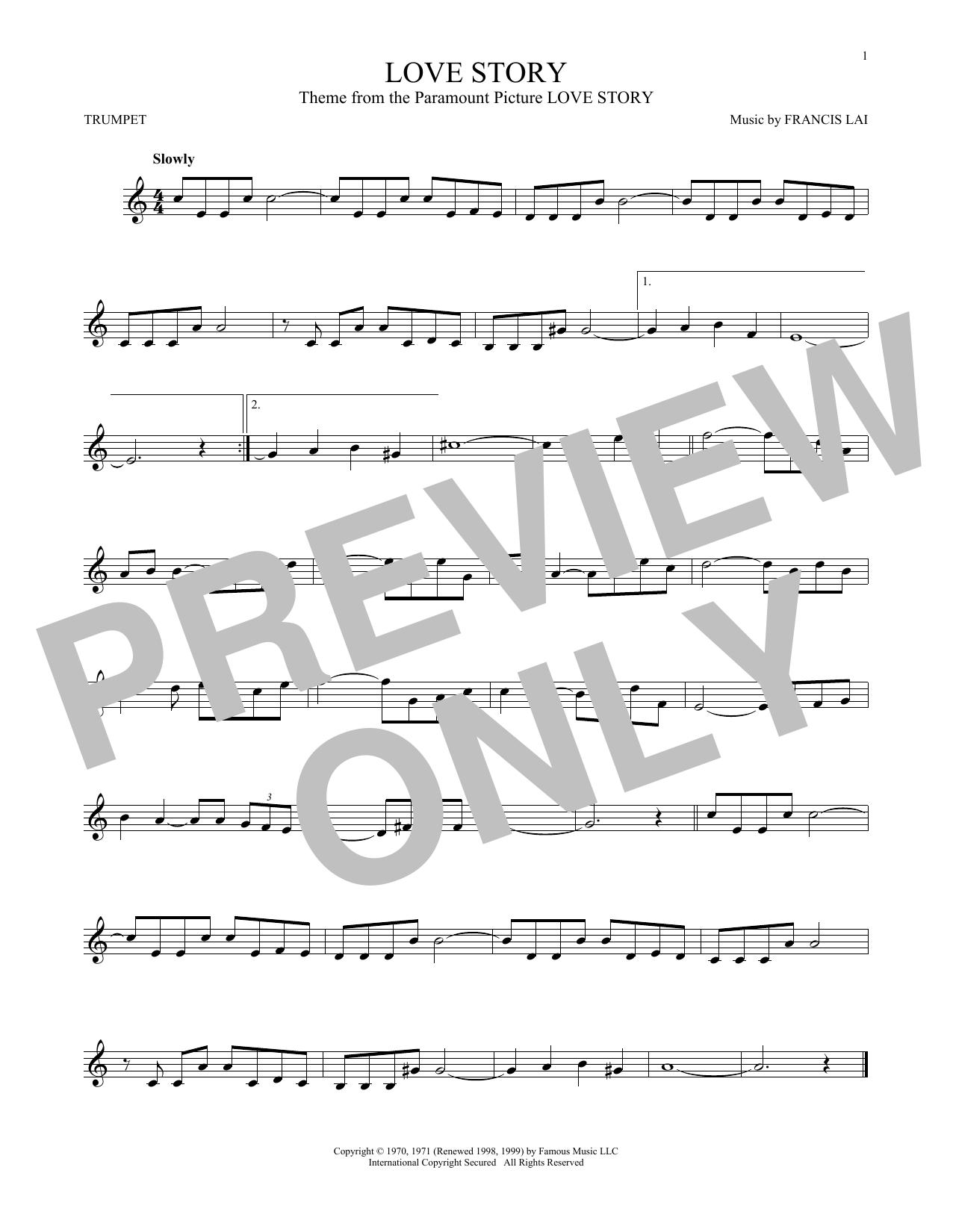 Partition autre Love Story de Francis Lai - Trompette