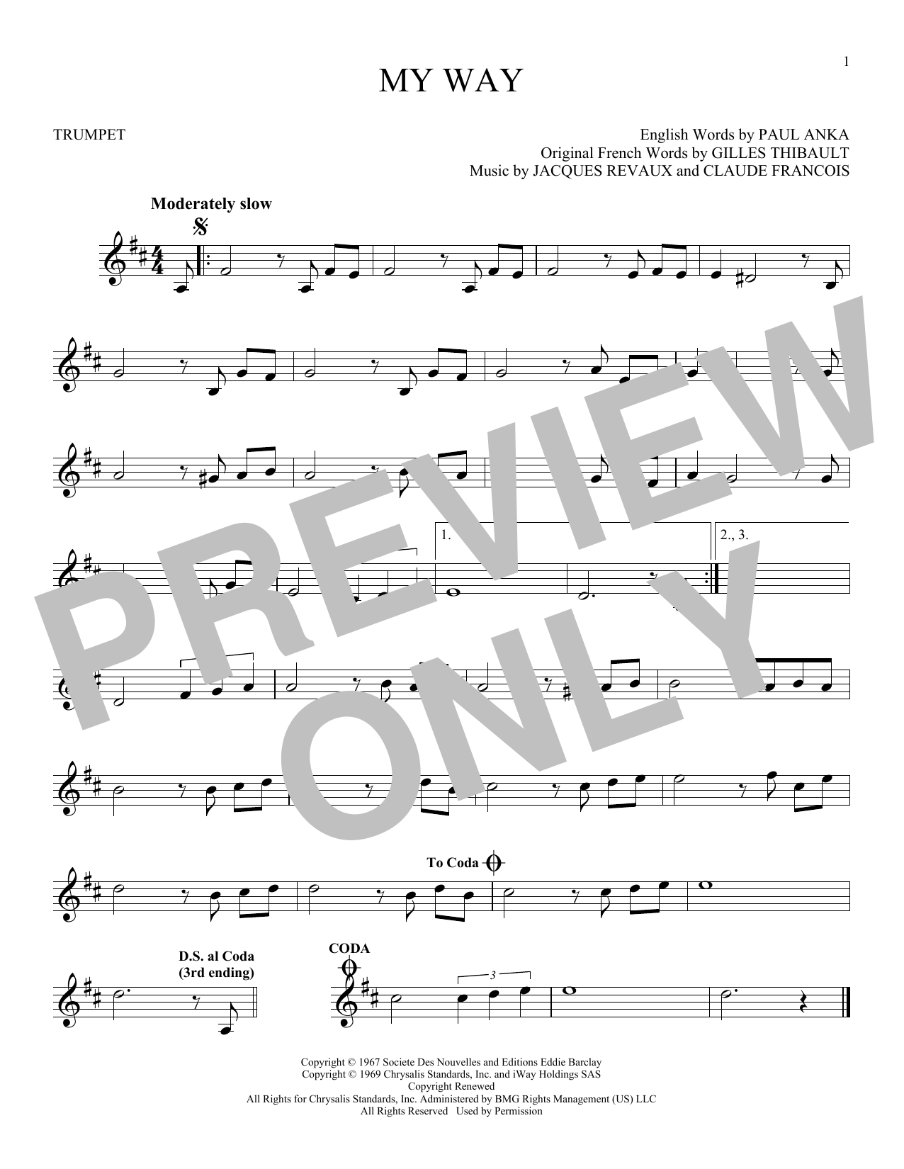 Partition autre My Way de Frank Sinatra - Trompette