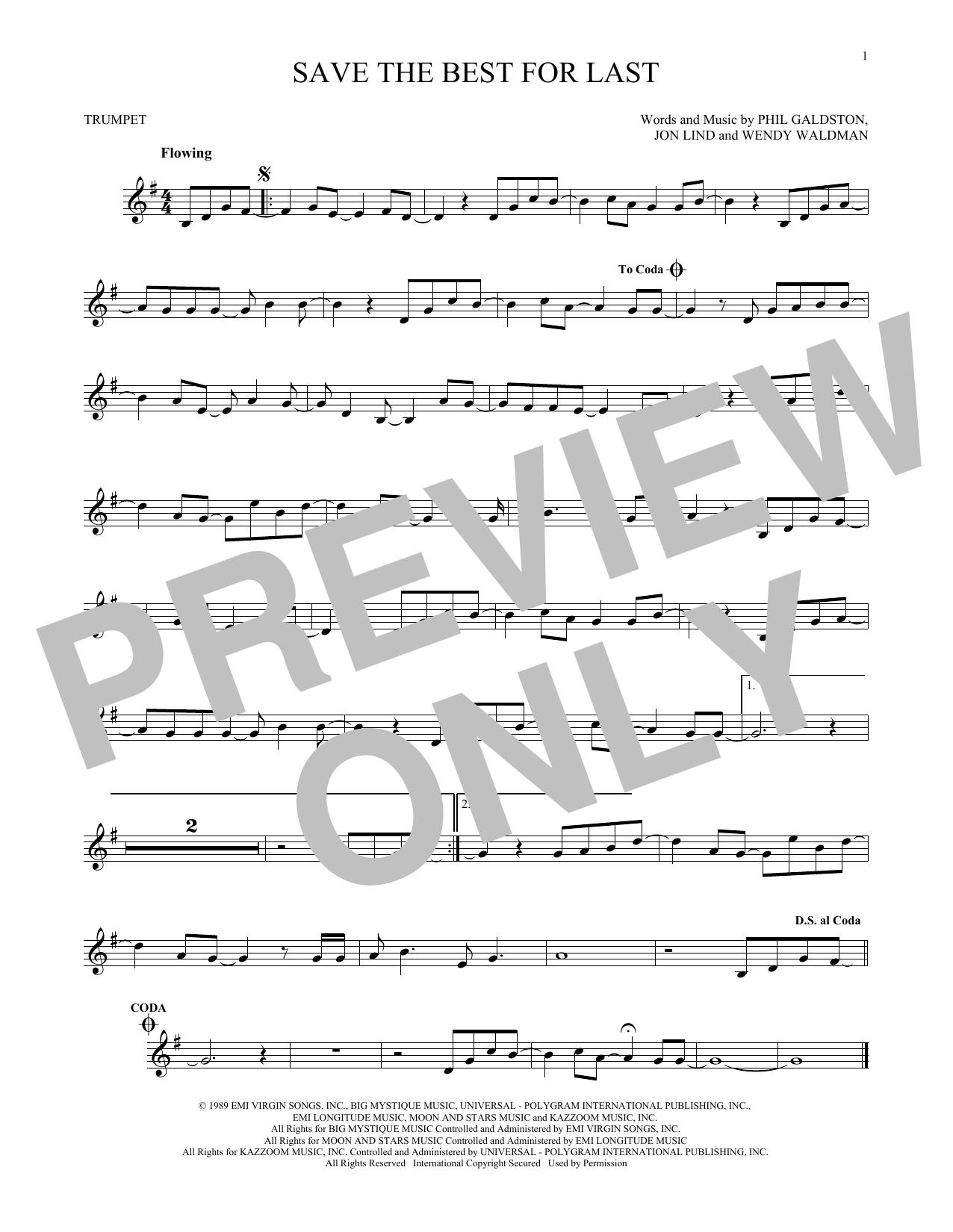 Partition autre Save The Best For Last de Vanessa Williams - Trompette