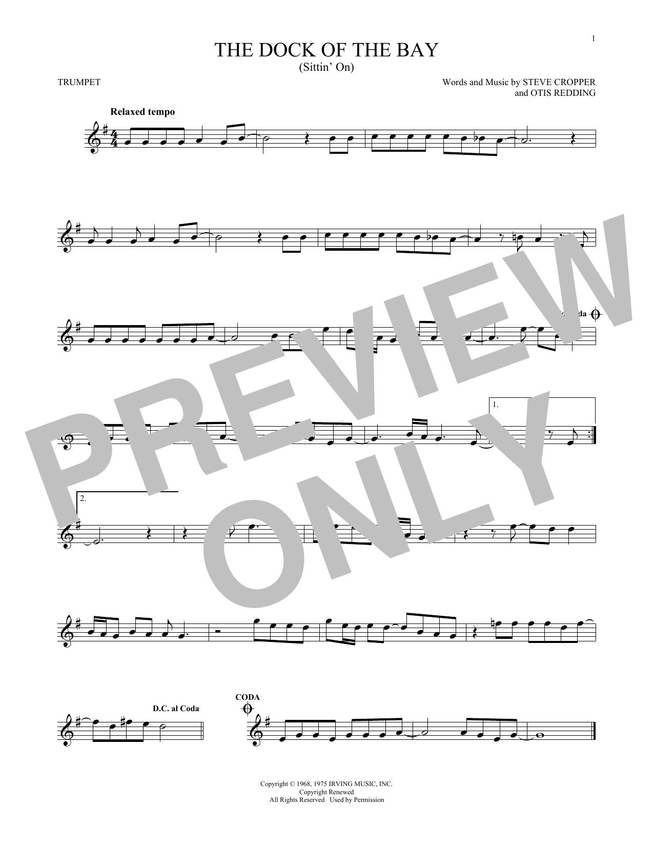 Partition autre (Sittin' On) The Dock Of The Bay de Otis Redding - Trompette