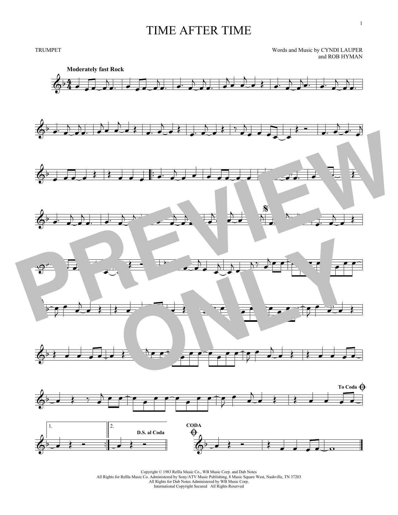 Partition autre Time After Time de Cyndi Lauper - Trompette