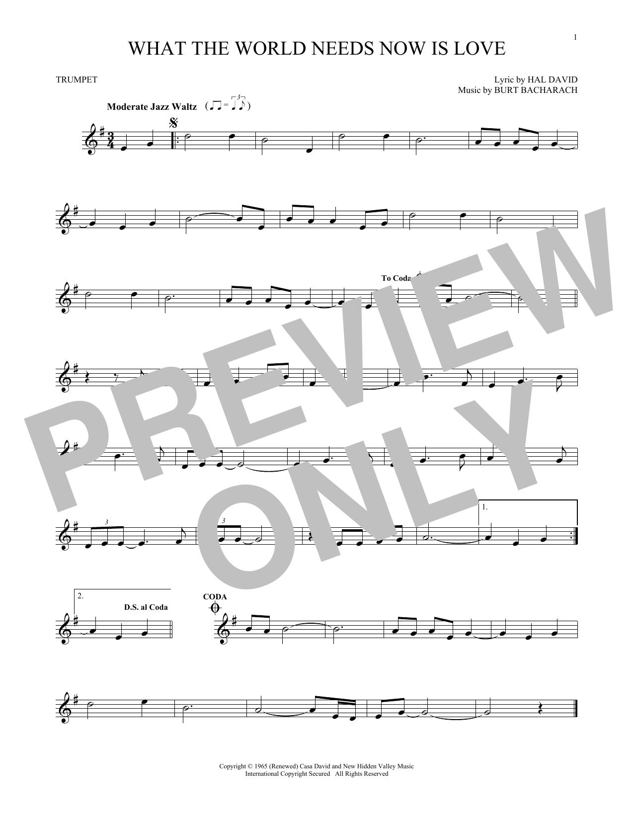 Partition autre What The World Needs Now Is Love de Bacharach & David - Trompette