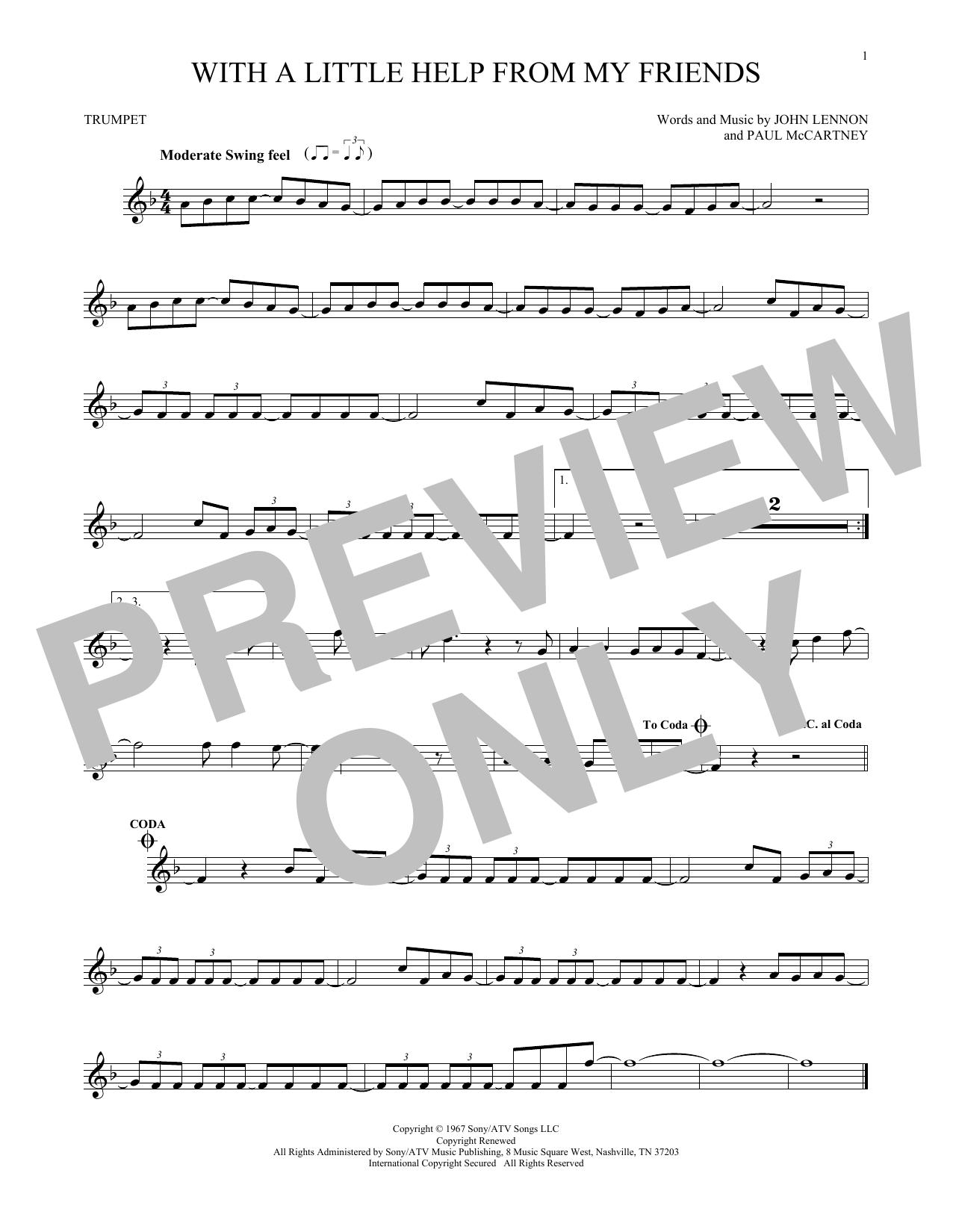 Partition autre With A Little Help From My Friends de The Beatles - Trompette