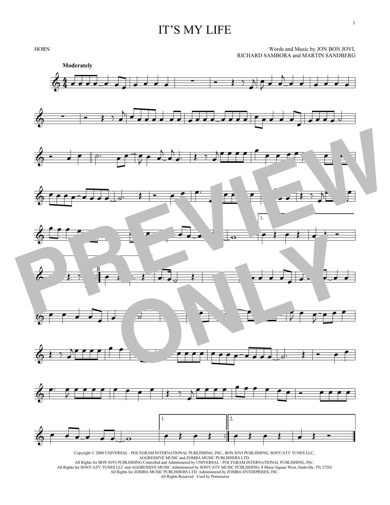 Partition autre It's My Life de Bon Jovi - Cor