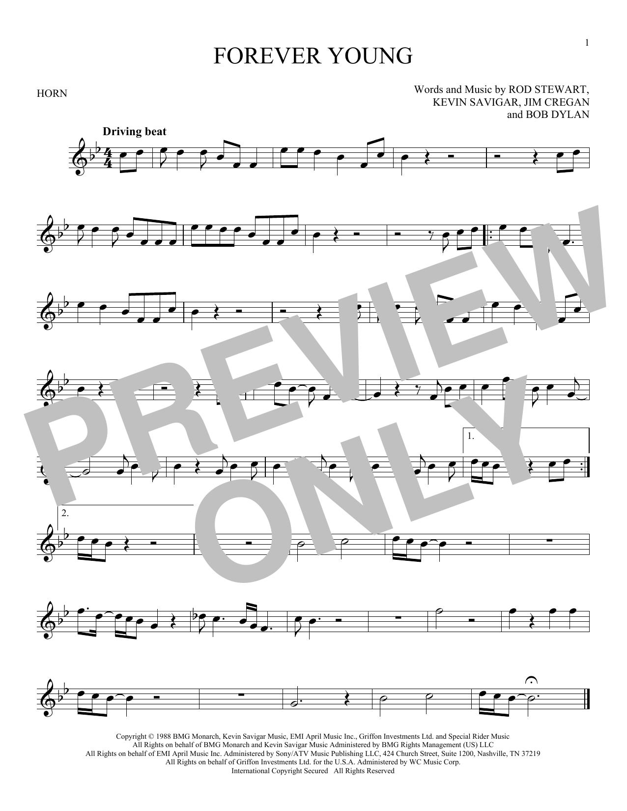 Partition autre Forever Young de Rod Stewart - Cor
