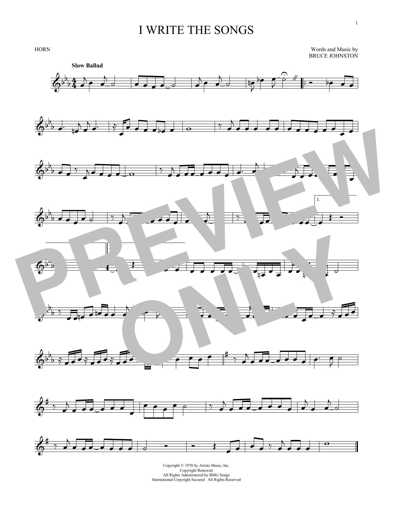 Partition autre I Write The Songs de Barry Manilow - Cor
