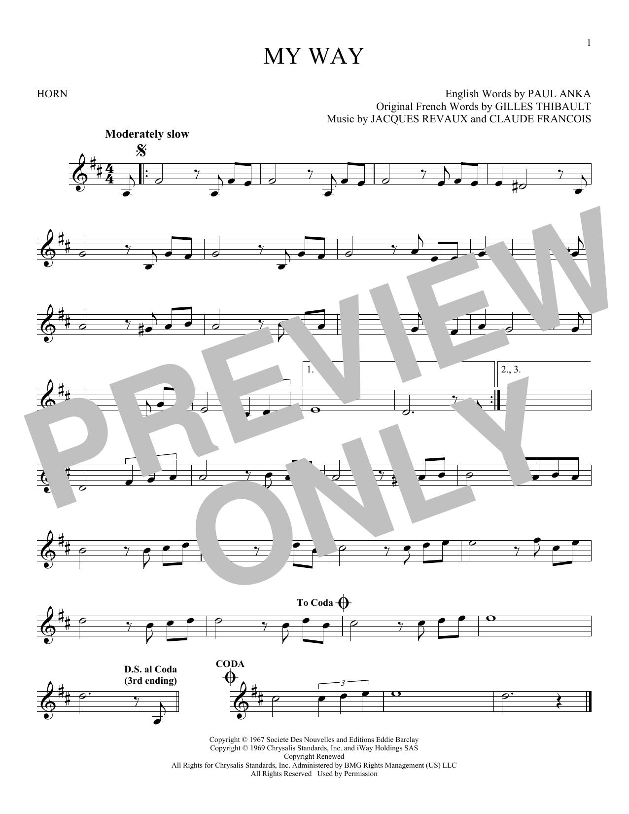 Partition autre My Way de Frank Sinatra - Cor