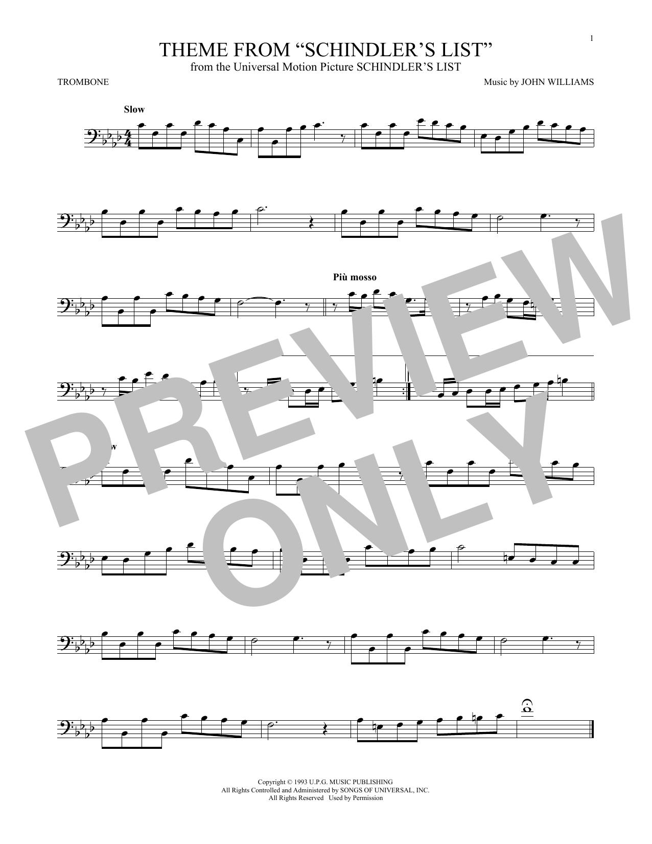 Partition autre Theme From Schindler's List de John Williams - Trombone