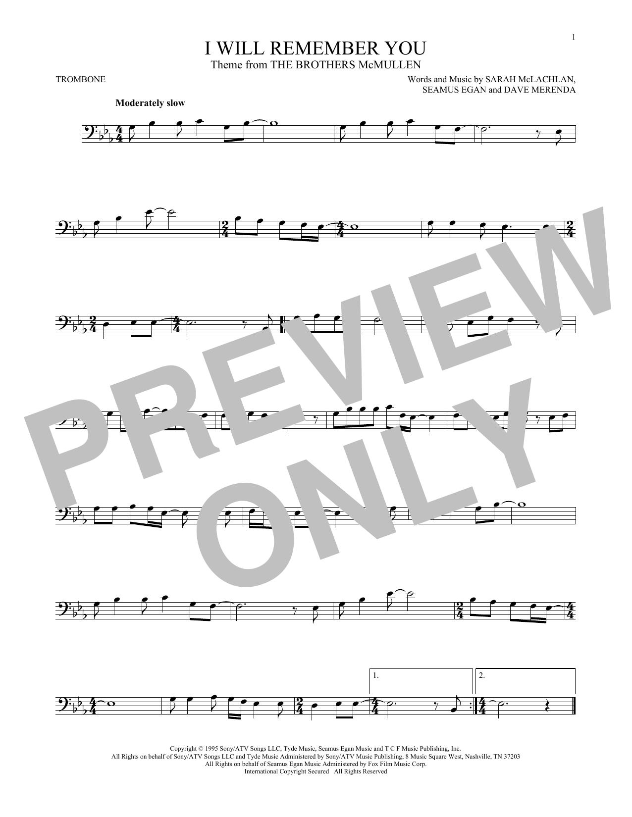 Partition autre I Will Remember You de Sarah McLachlan - Trombone