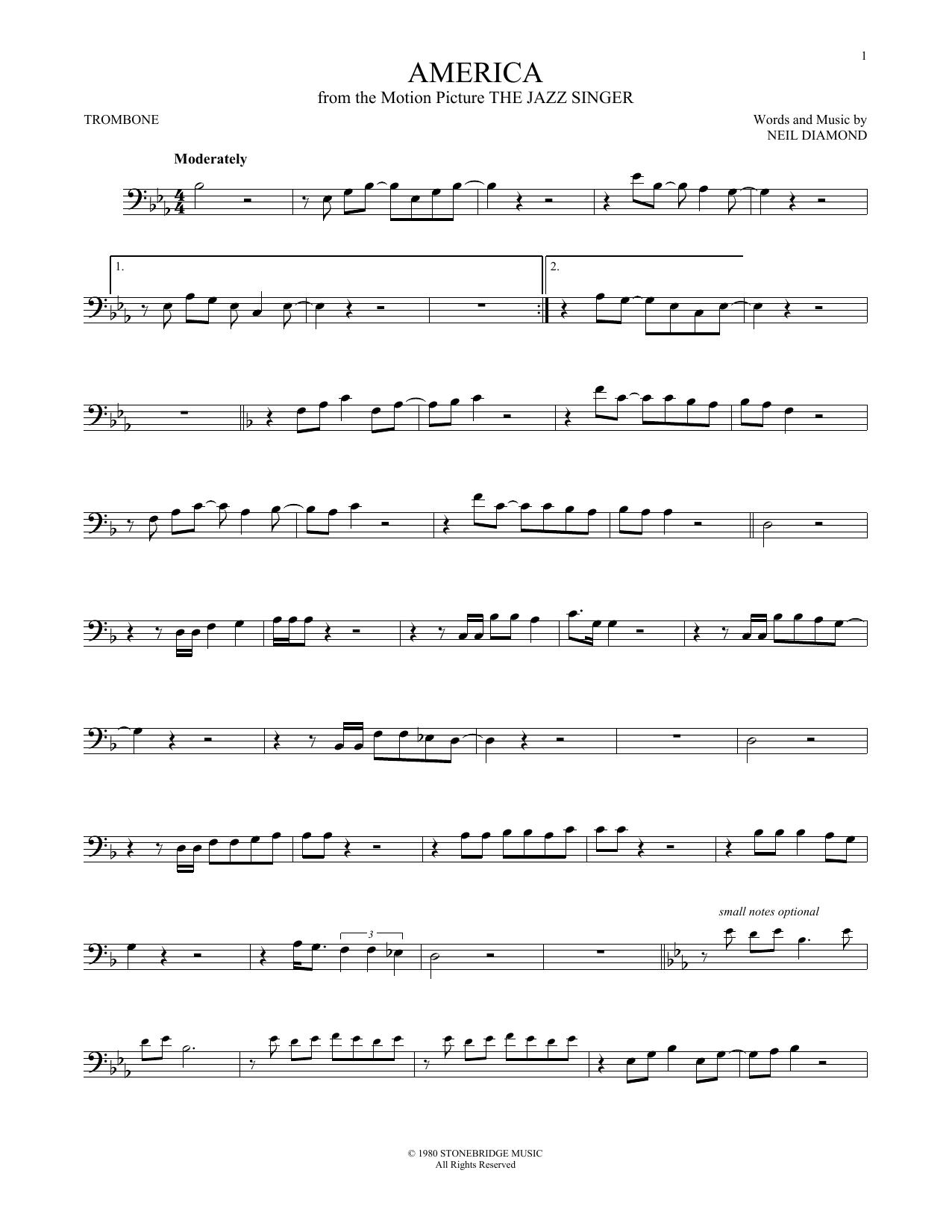 Partition autre America de Neil Diamond - Trombone