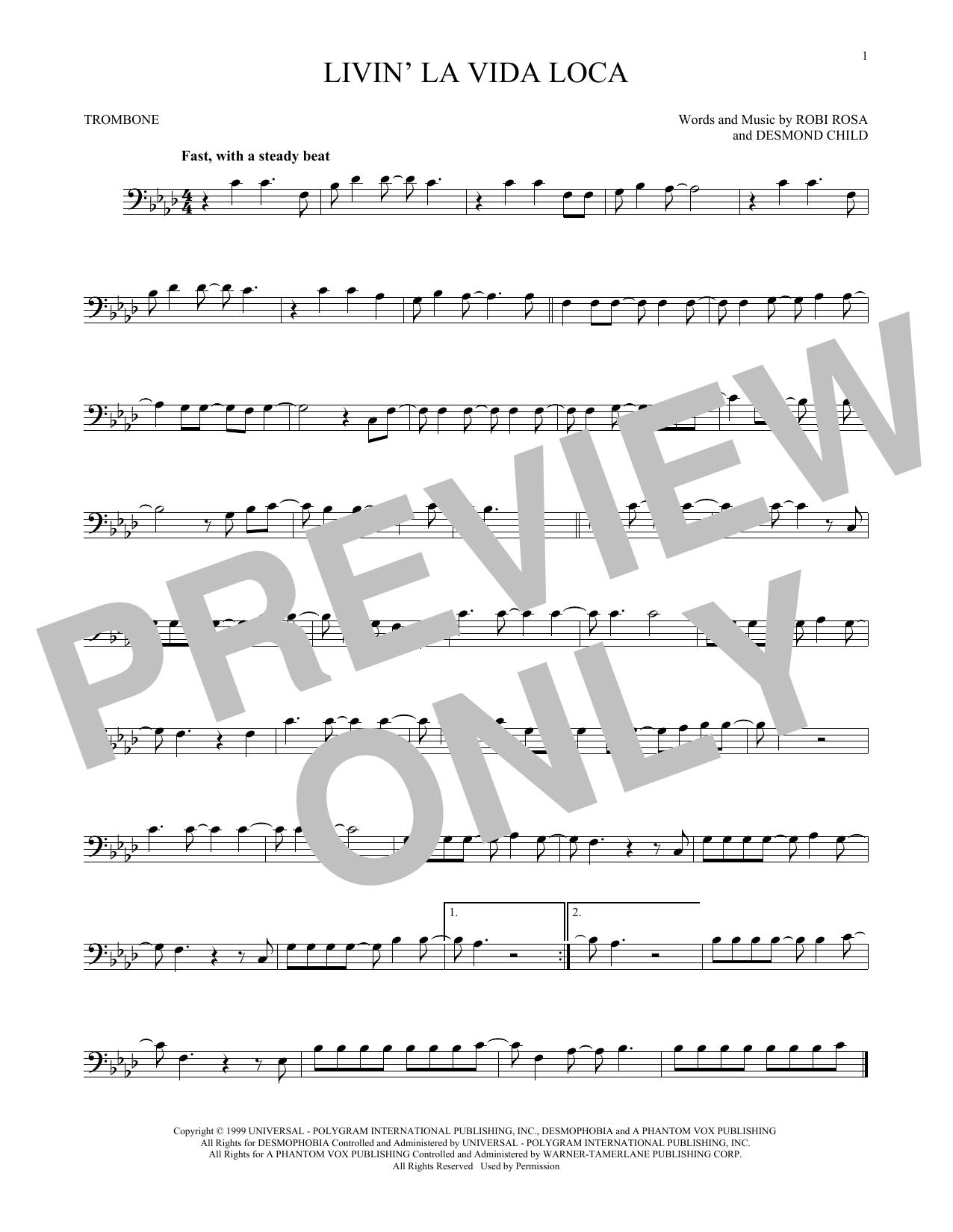 Partition autre Livin' La Vida Loca de Ricky Martin - Trombone