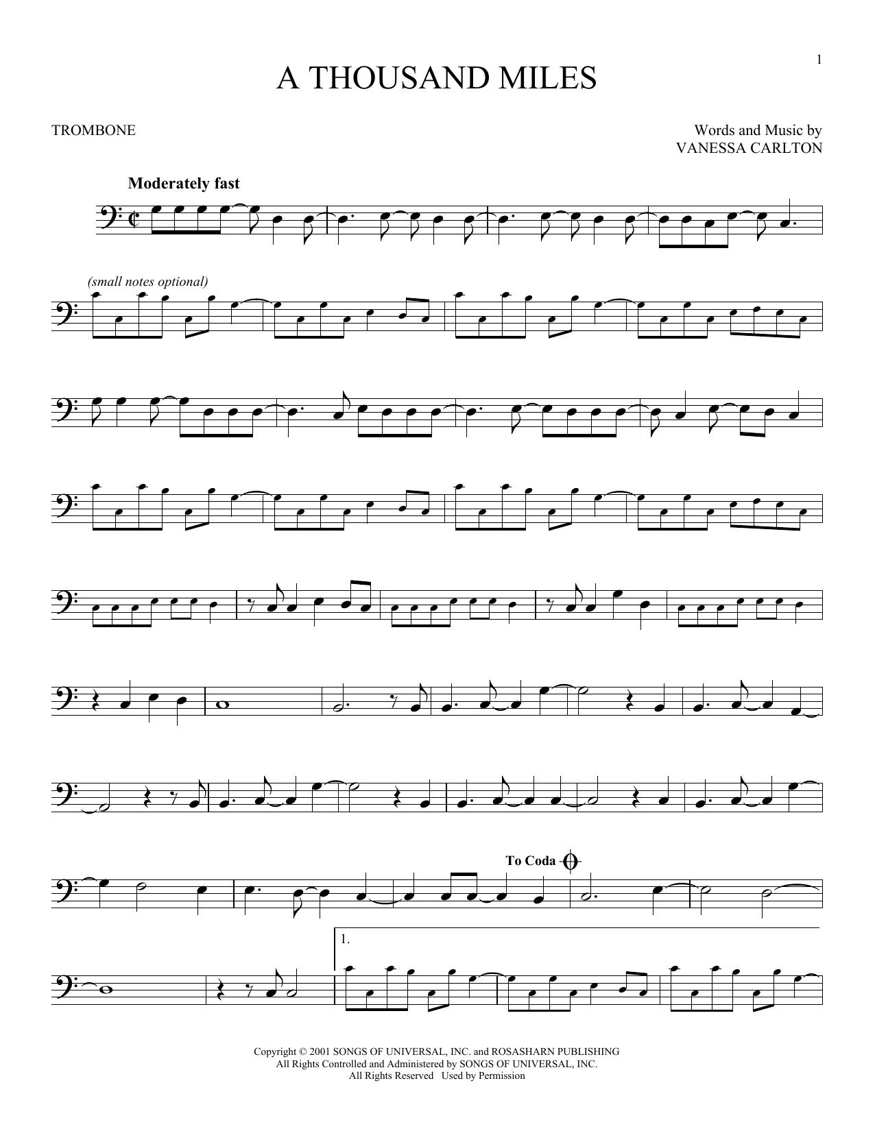 Partition autre A Thousand Miles de Vanessa Carlton - Trombone