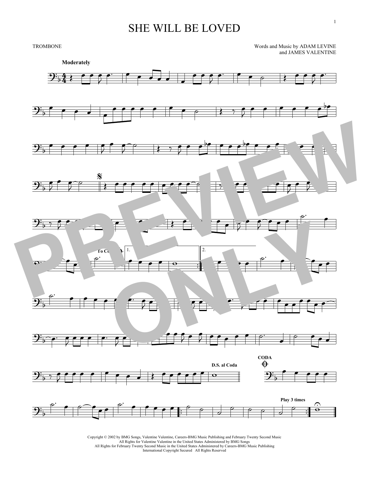 Partition autre She Will Be Loved de Maroon 5 - Trombone