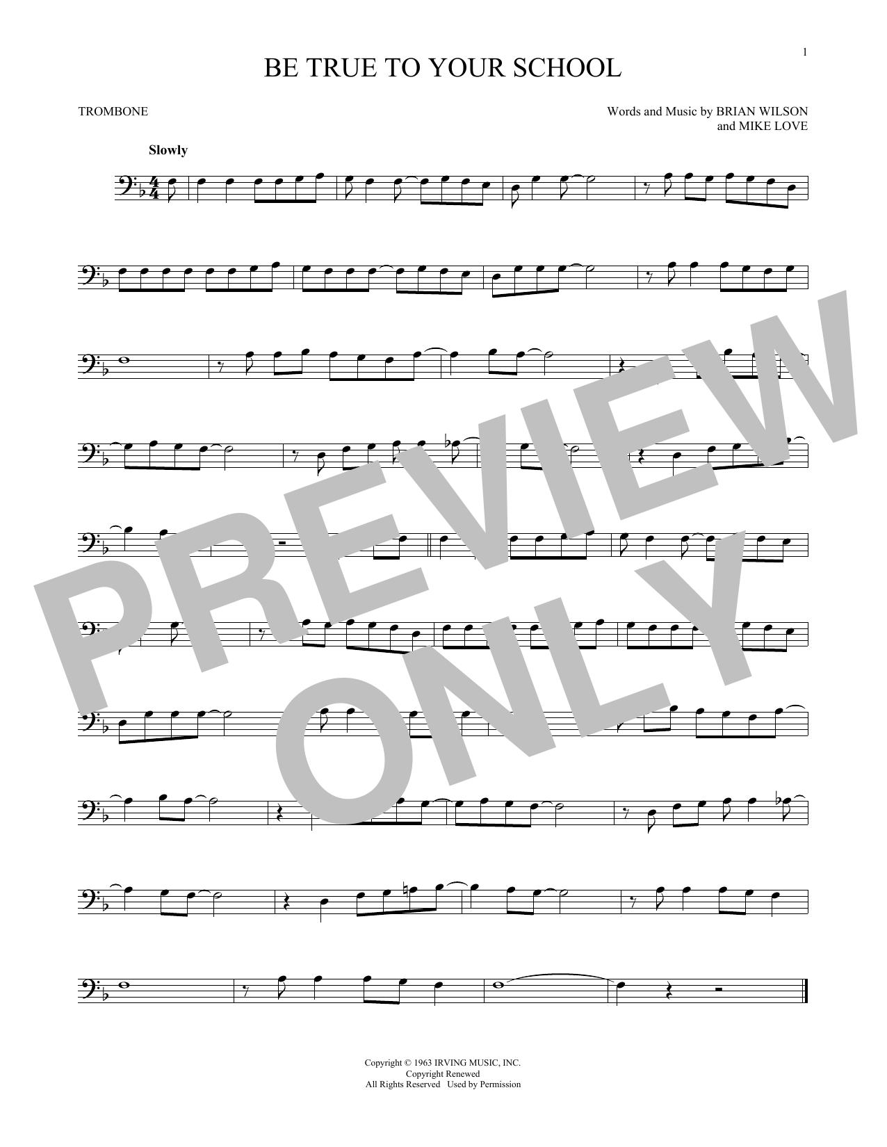 Partition autre Be True To Your School de The Beach Boys - Trombone