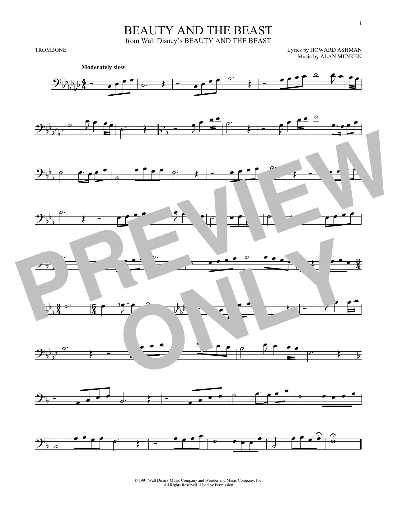 Partition autre Beauty And The Beast de Alan Menken - Trombone