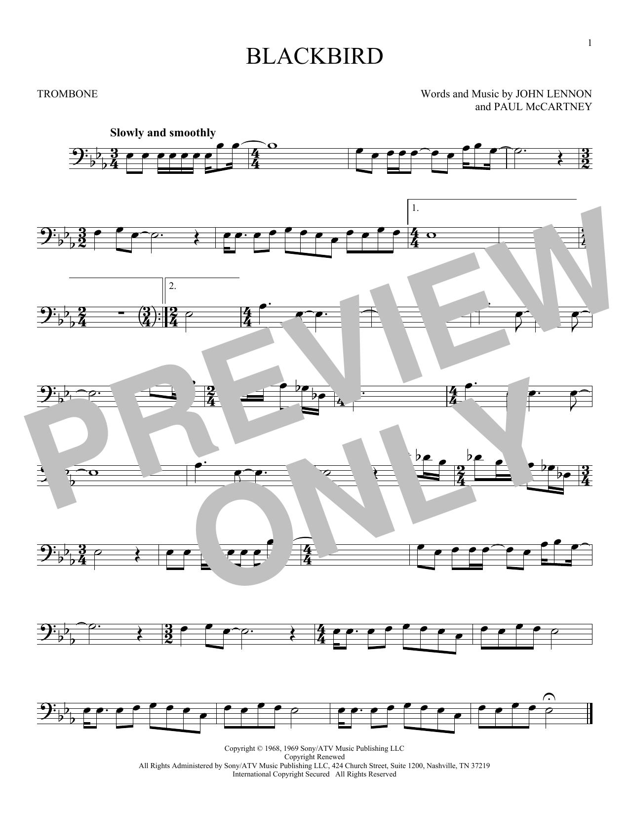 Partition autre Blackbird de The Beatles - Trombone