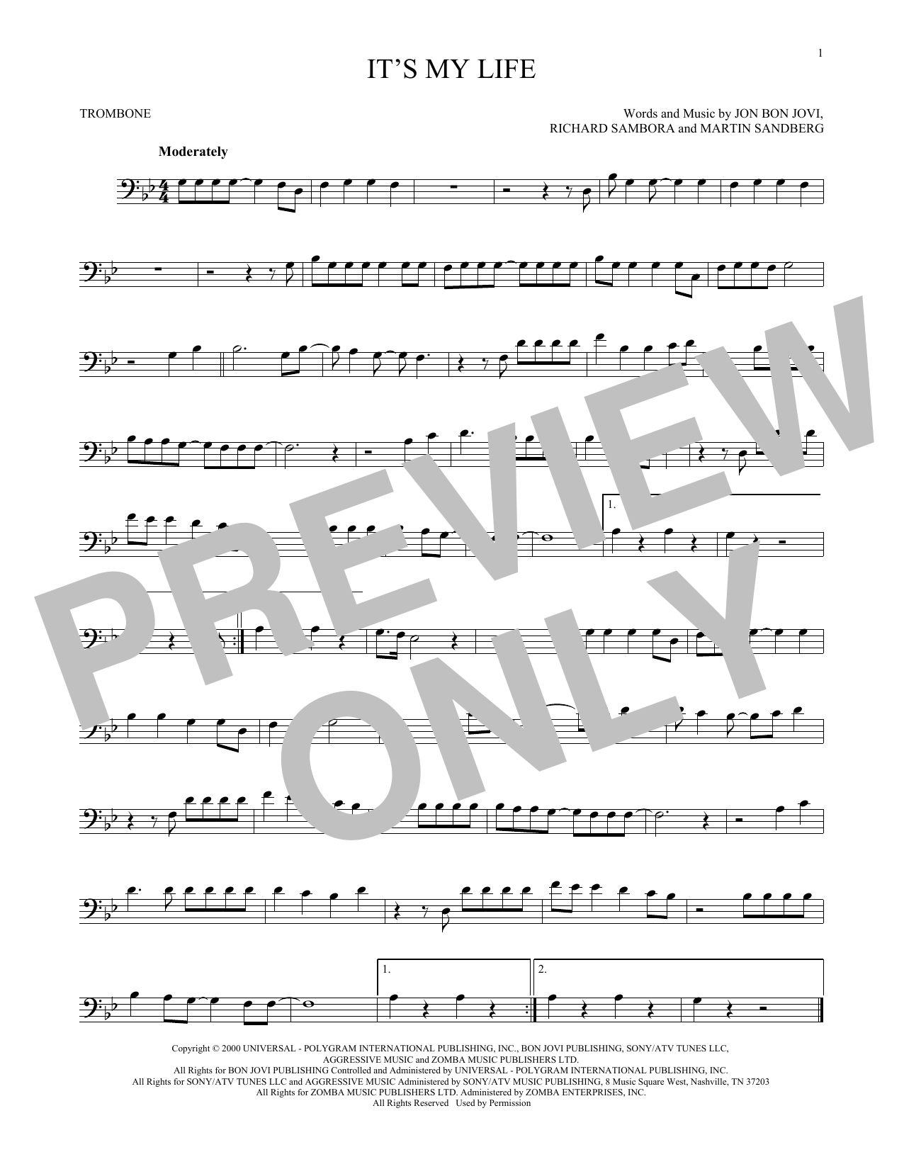 Partition autre It's My Life de Bon Jovi - Trombone