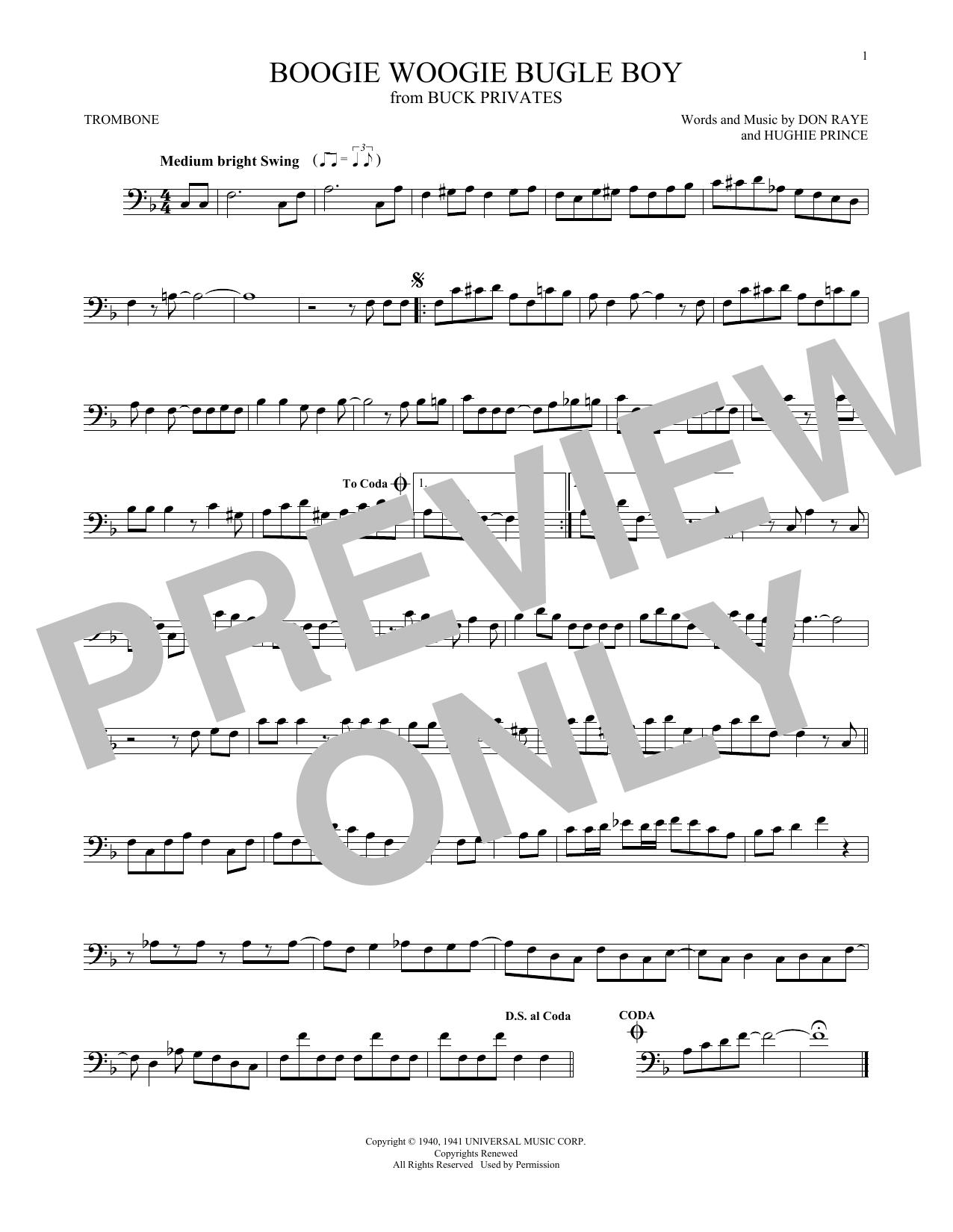 Partition autre Boogie Woogie Bugle Boy de The Andrews Sisters - Trombone